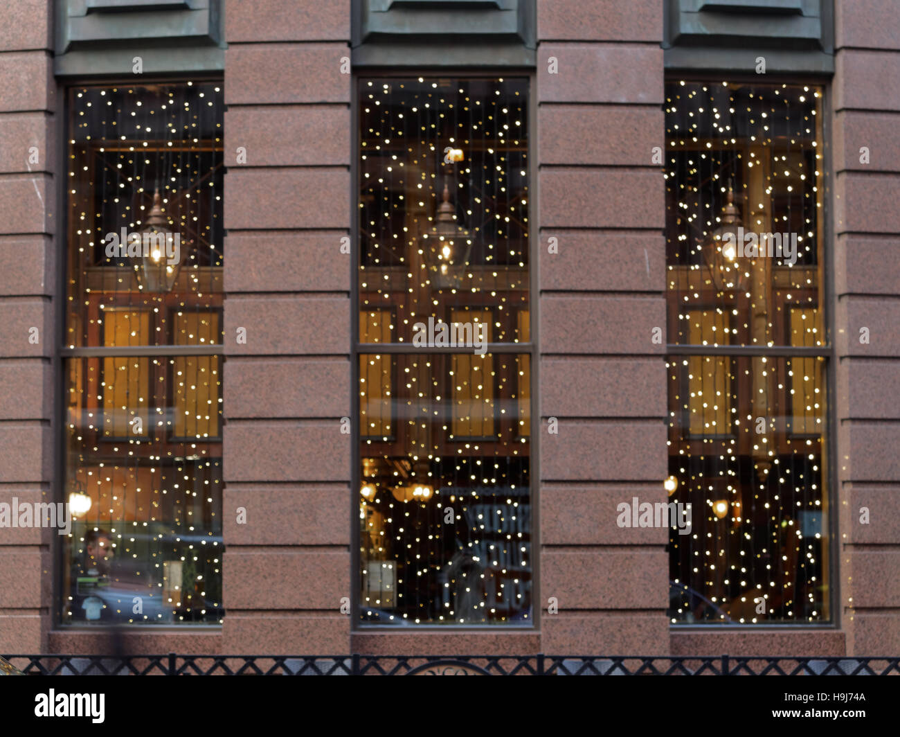 Glasgow Restaurant Windows Lit Up By Christmas Decorations Stock