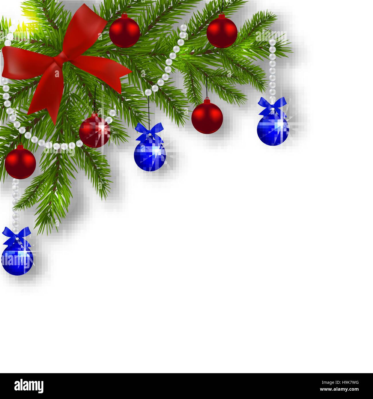 Christmas card. Green branches of a Christmas tree with blue, red ...