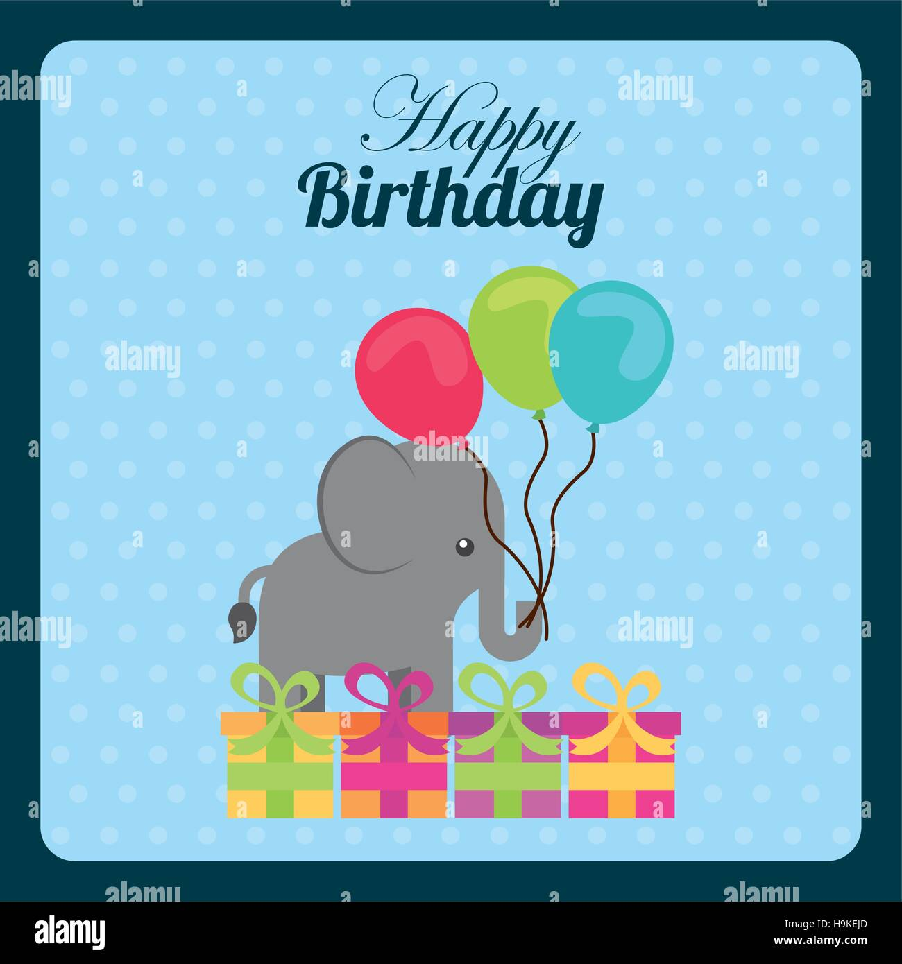 Happy birthday card with cute elephant with balloons and gift boxes happy birthday card with cute elephant with balloons and gift boxes over blue background colorful design vector illustration bookmarktalkfo Choice Image