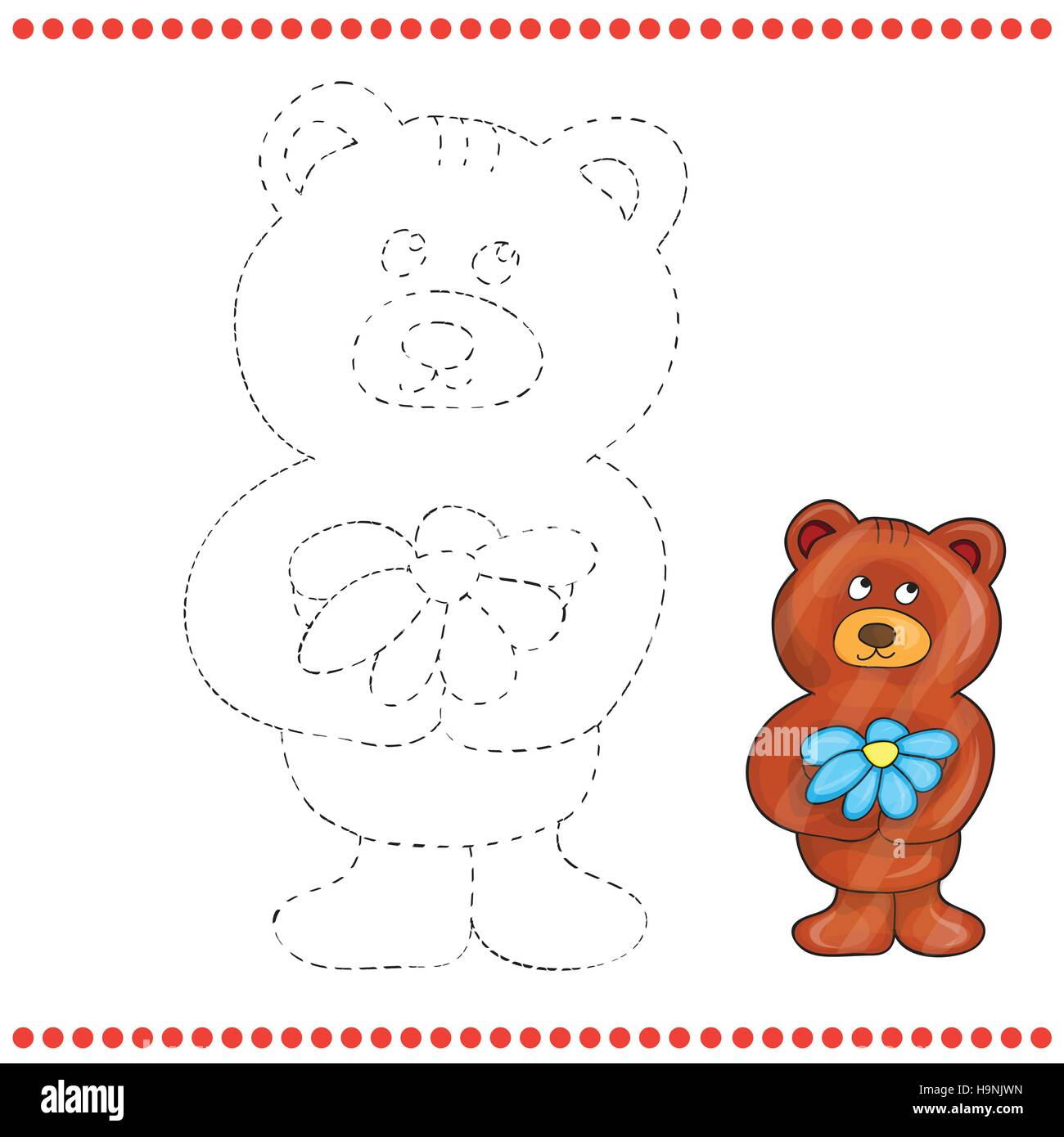 Connect the dots and coloring page - teddy bear Stock Vector Art ...