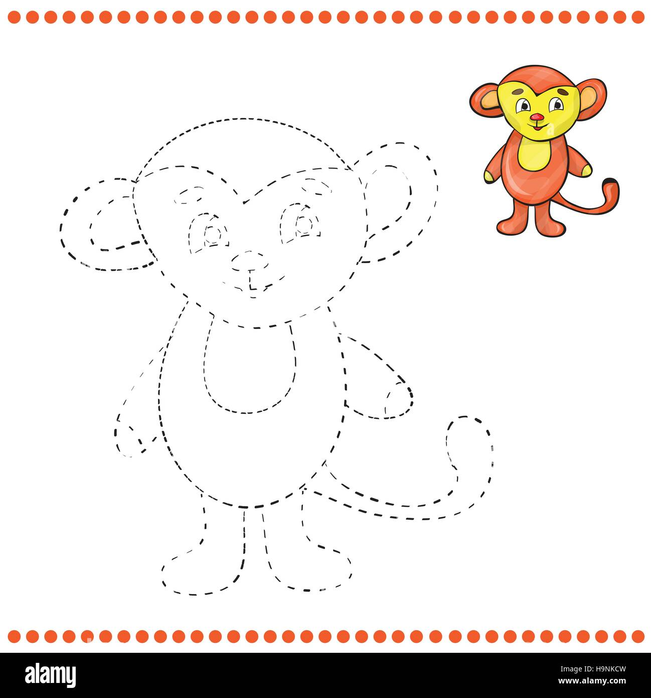 Connect the dots and coloring page - monkey Stock Vector Art ...