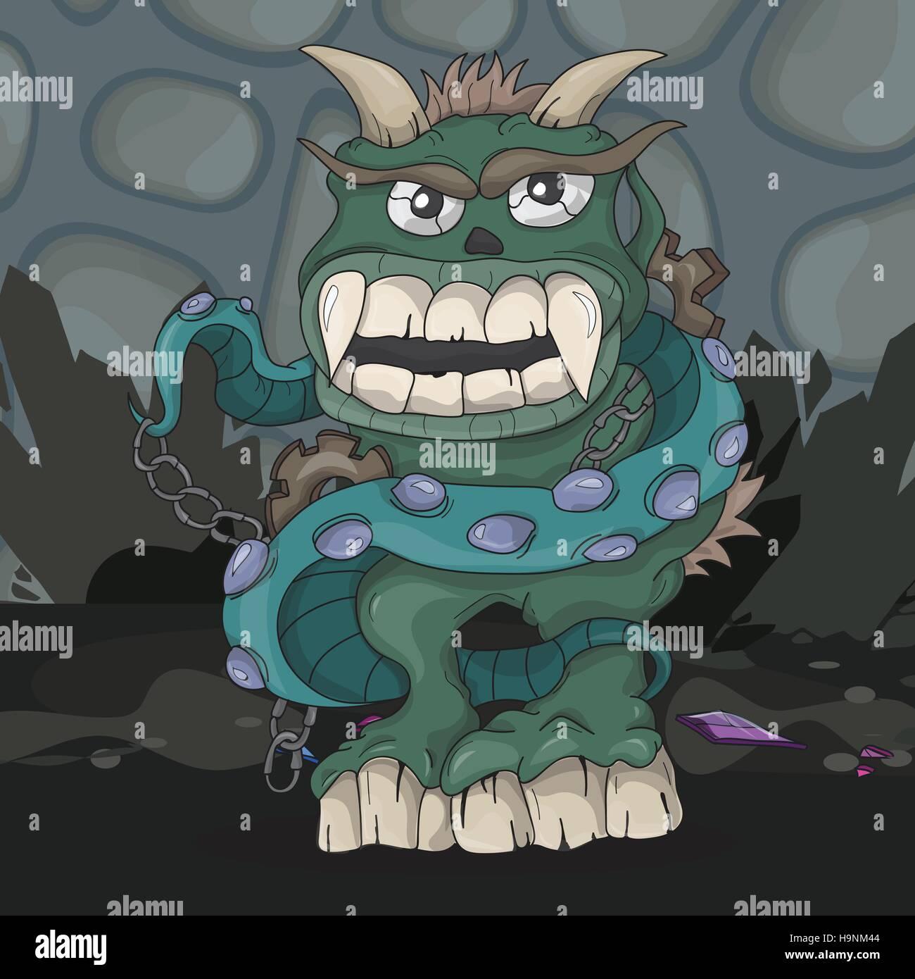 Angry cartoon dark monster underground -Vector illustration - Stock Image