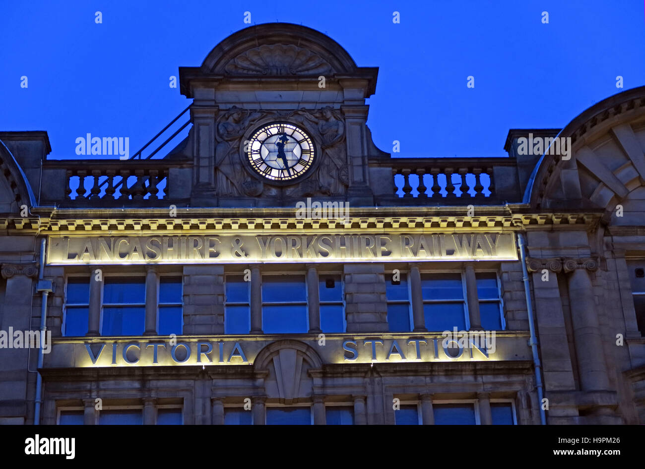 transit,city,centre,clock,night,Yorkshire,Railway,nightshot,blue,hour,Lancashire,queen,M3,building,rail,Manchester Victoria,City Centre,Lancashire & Yorkshire Railway,Lancashire Railway,Yorkshire Railway,blue hour,Victoria Station,Queen Victoria,Victoria Station Approach,GoTonySmith,@HotpixUK,Tony,Smith,UK,GB,Great,Britain,United,Kingdom,English,British,England,railtrack,network,northern,powerhouse,NW,GM,Buy Pictures of,Buy Images Of,Images of,Stock Images,Tony Smith,United Kingdom,Great Britain,British Isles,Lancashire and Yorkshire Railway,Network Rail,northern powerhouse,Greater Manchester
