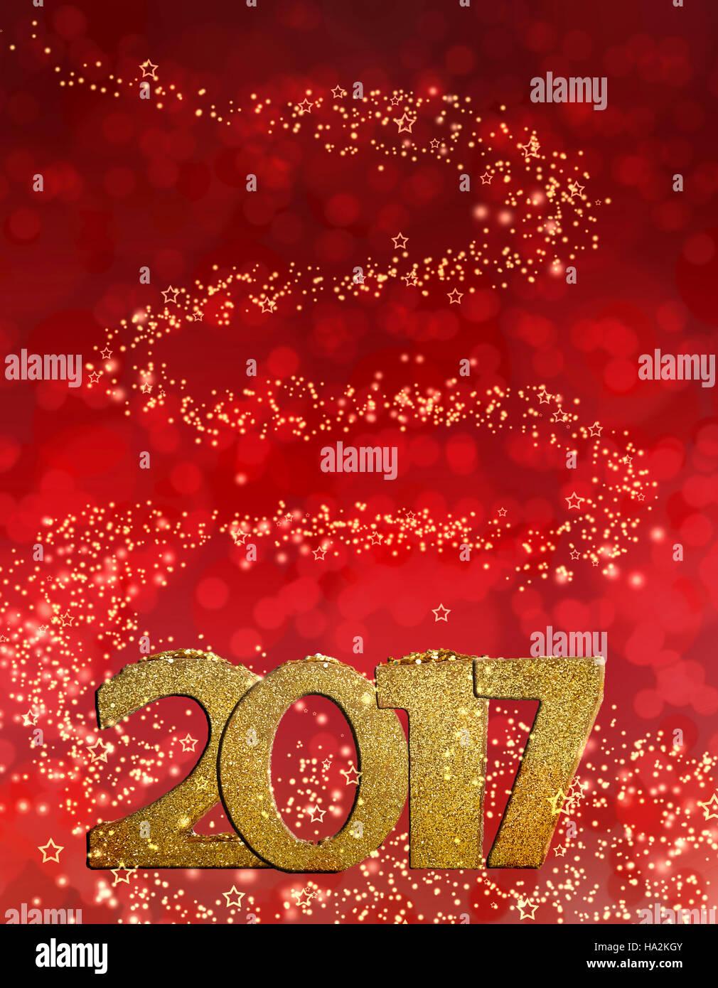 golden figures 2017 on bright lights background - Stock Image