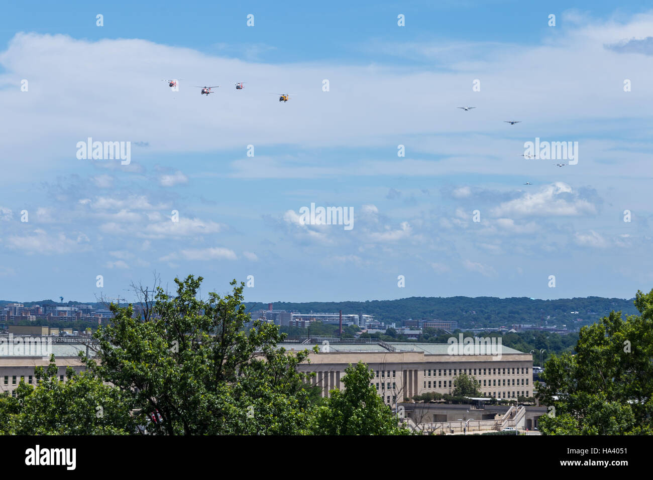 United States Coast Guard commemorative flyover of the Pentagon - Stock Image