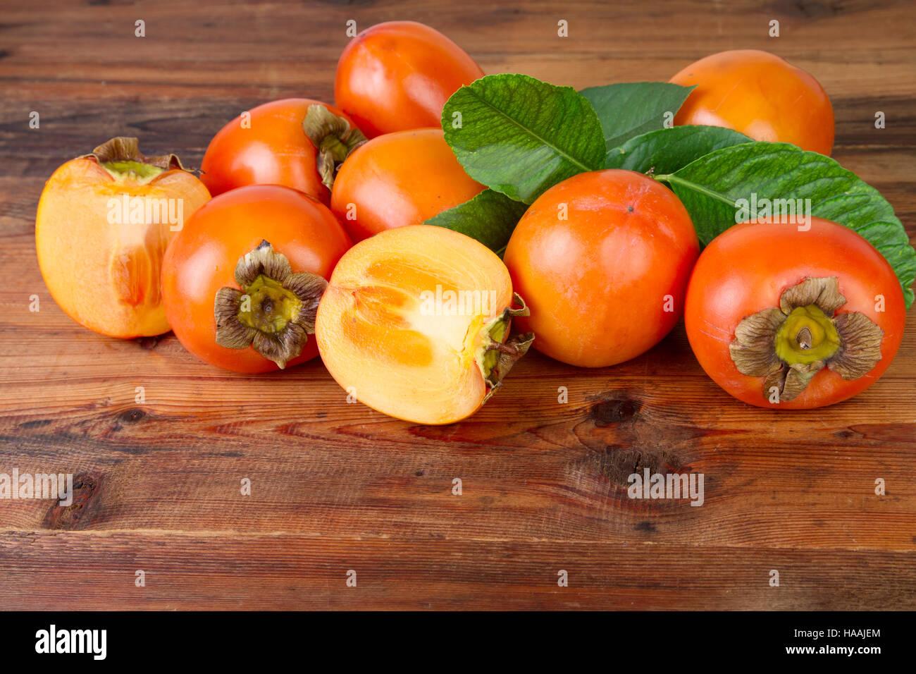 sweet kaki fruits persimmon - Stock Image