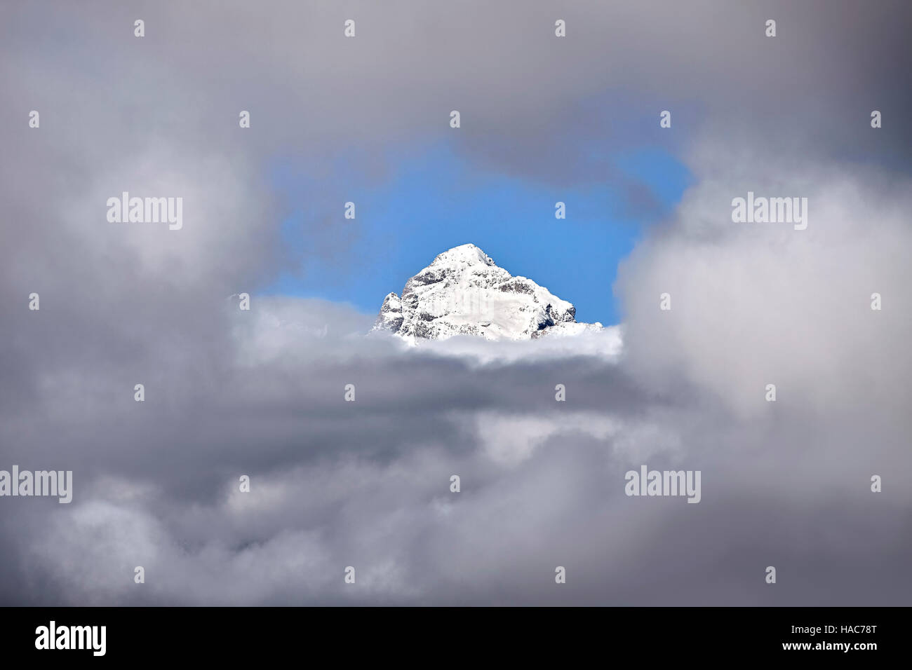 Grand Teton peak in cloud frame, Grand Teton National Park, Wyoming, USA. - Stock Image