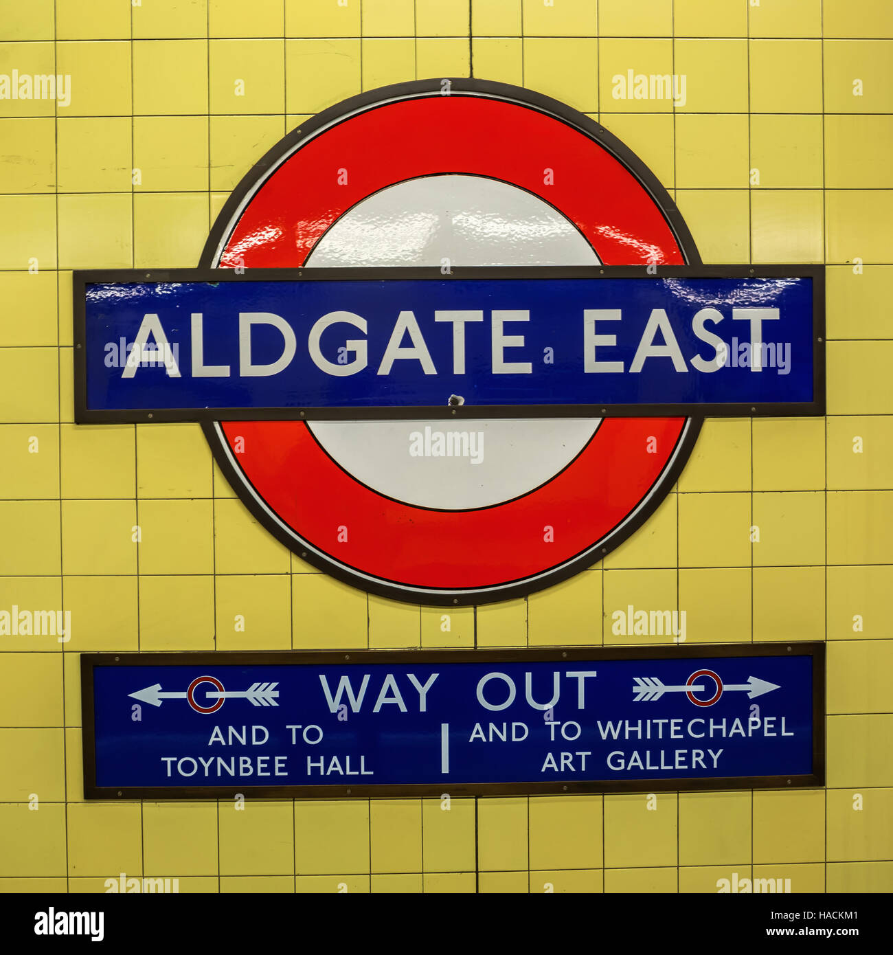 Logo Of The Underground Station Aldgate East In London Stock Photo