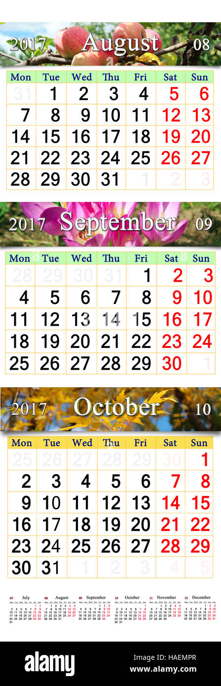 office calendar for three months august september and october 2017 with images of apples and yellow leaves calendars for using in office