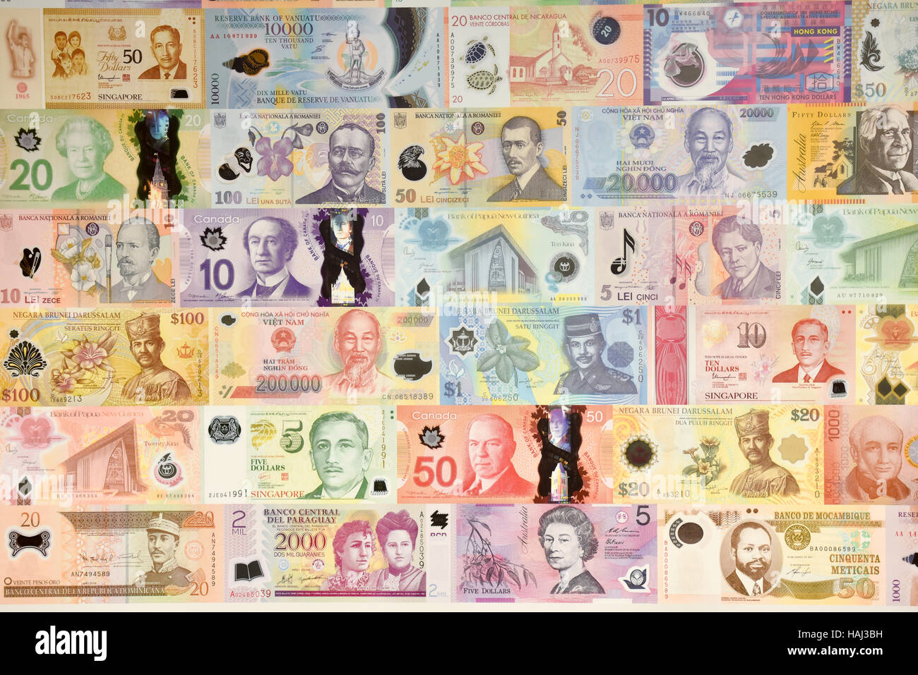 Graphic wall covering of bank notes made by Innovia Security Guardian Clarity C polymer film - Stock Image