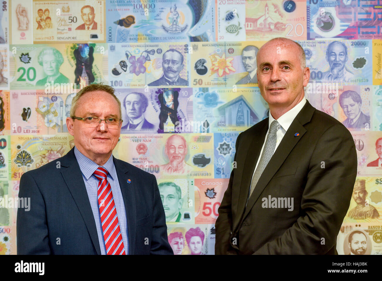 Managing Director of Innovia Security Bernhard Imbach (left) and Mark Robertshaw CEO Innovia Group - Stock Image