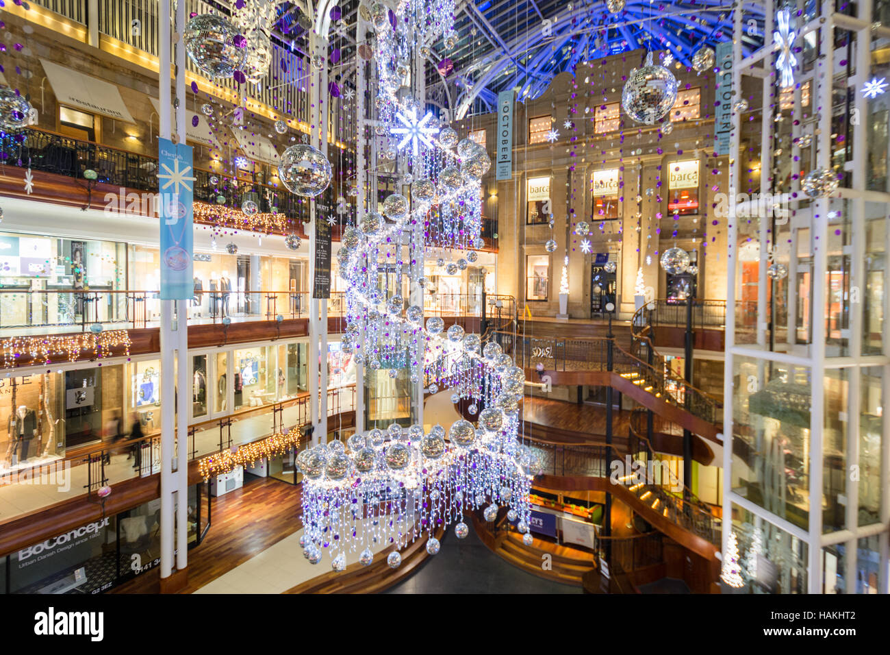 Princes Square Glasgow christmas decorations 2016 Stock Photo