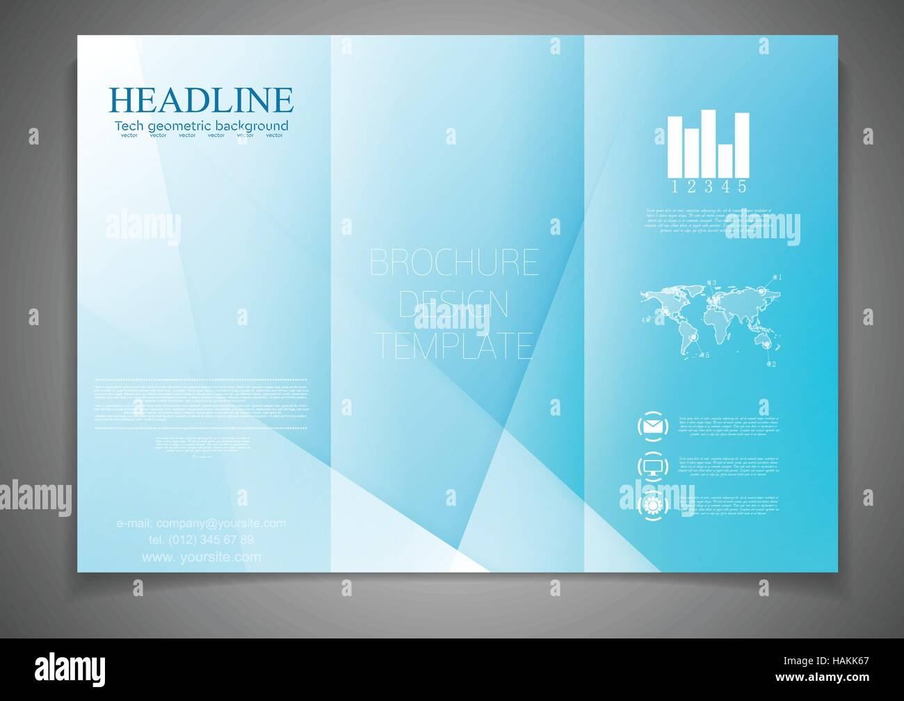 tri fold brochure blue corporate design template abstract vector