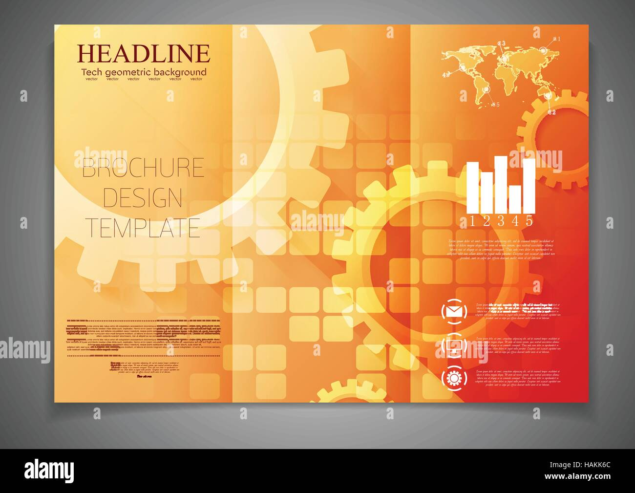 tri fold technology brochure design template with gears abstract