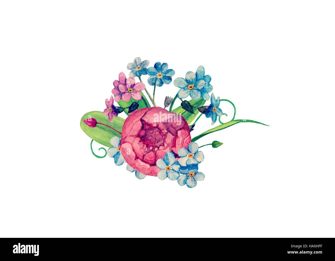 Watercolor bouquet vector. Handpainted flowers clip art Stock Vector ...