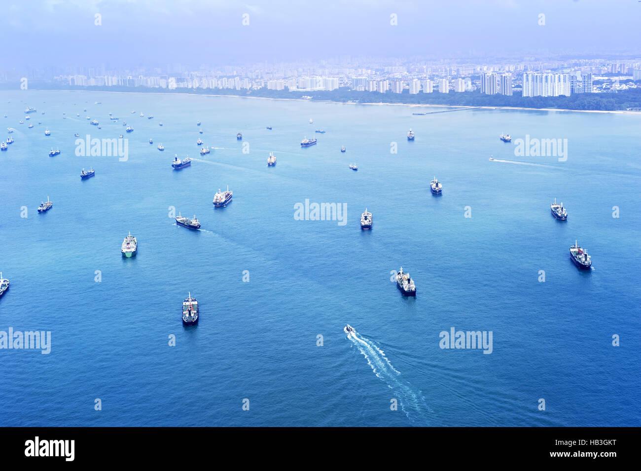 Singapore shipping industry - Stock Image