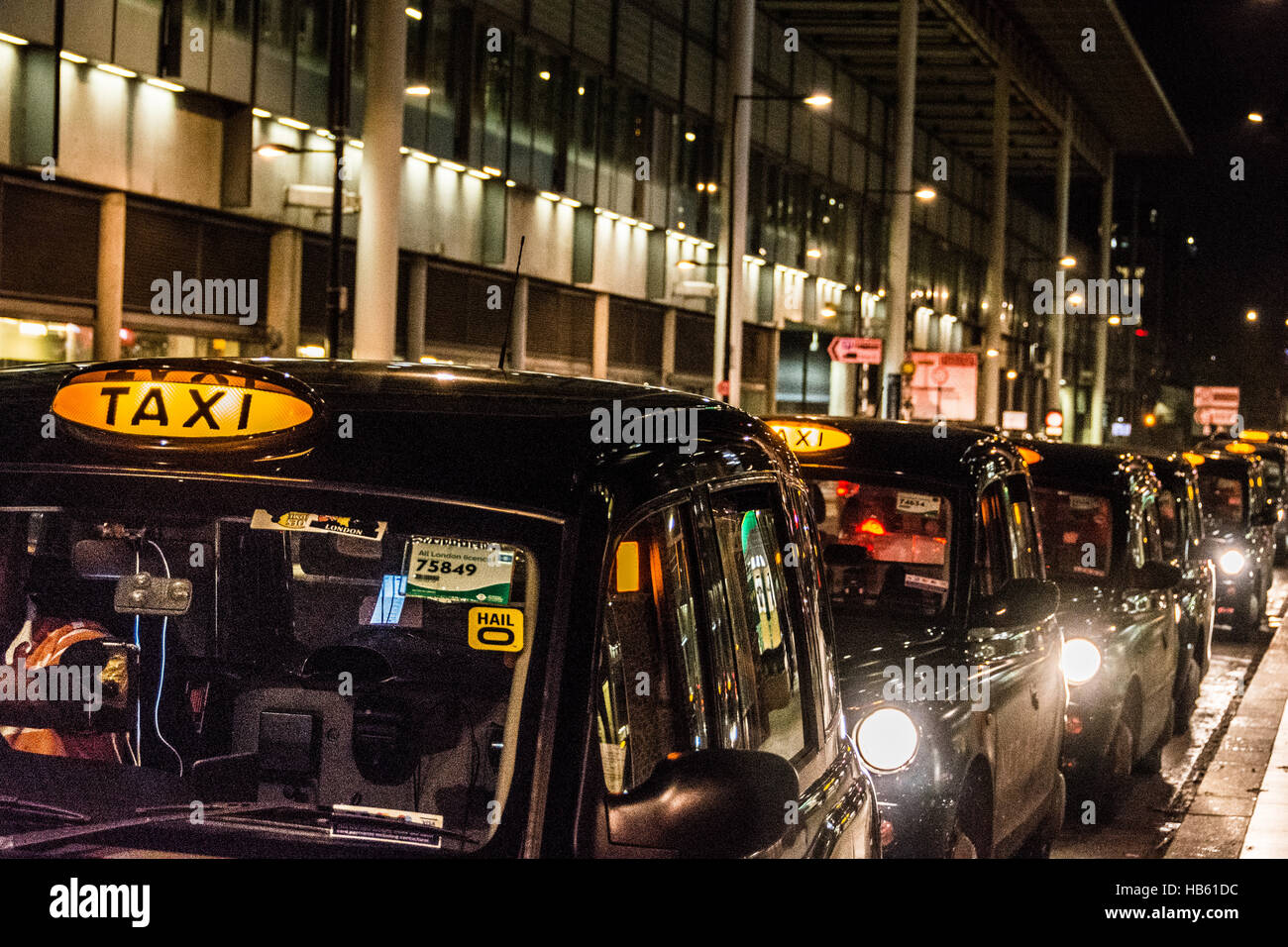 Taxis outside St. Pancras station in London, England, UK Stock Photo