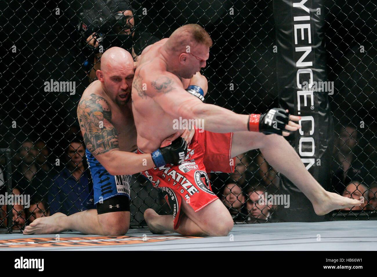 UFC fighter Brock Lesnar, righ...