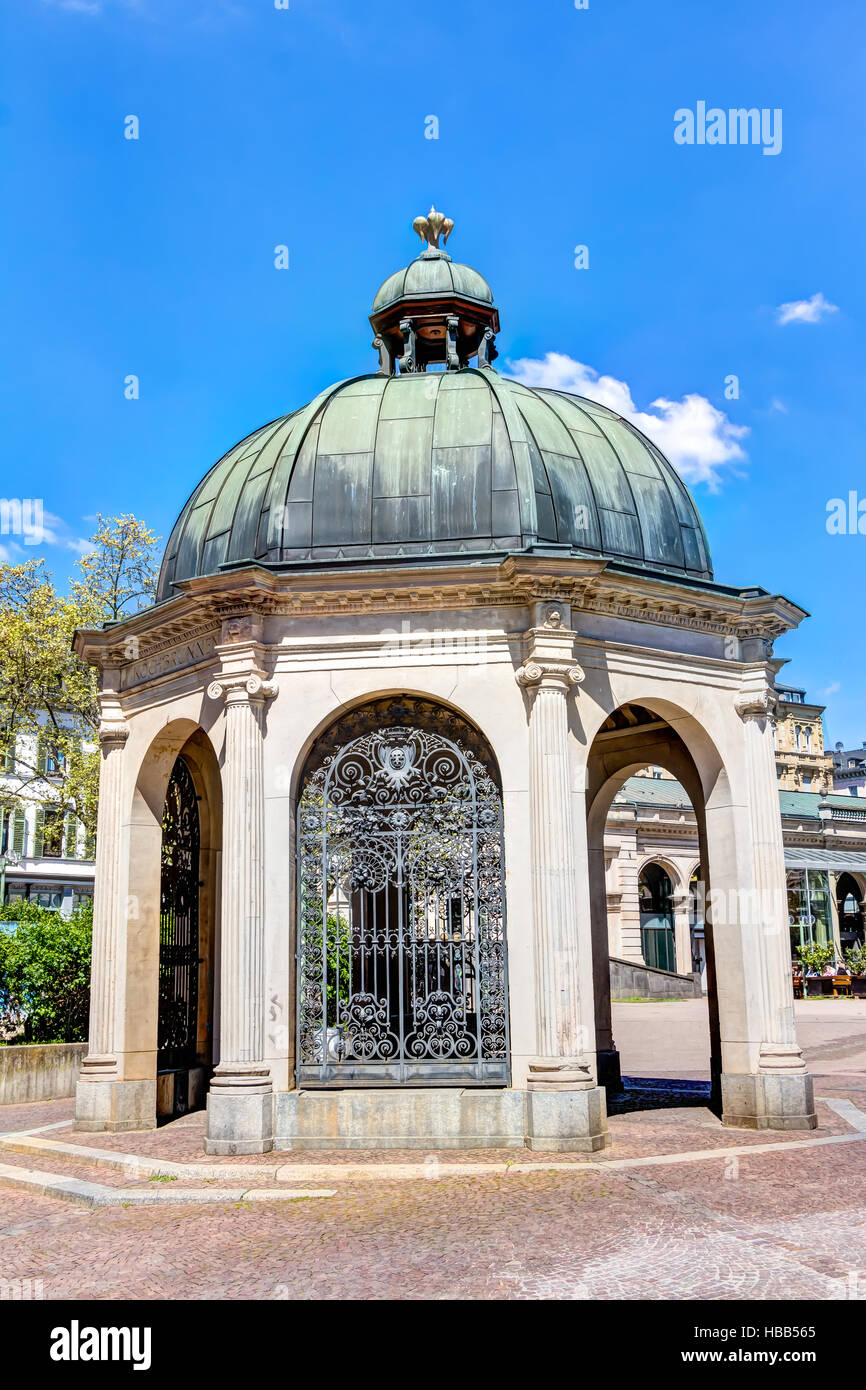 Historic boil fountain in Wiesbaden - Stock Image