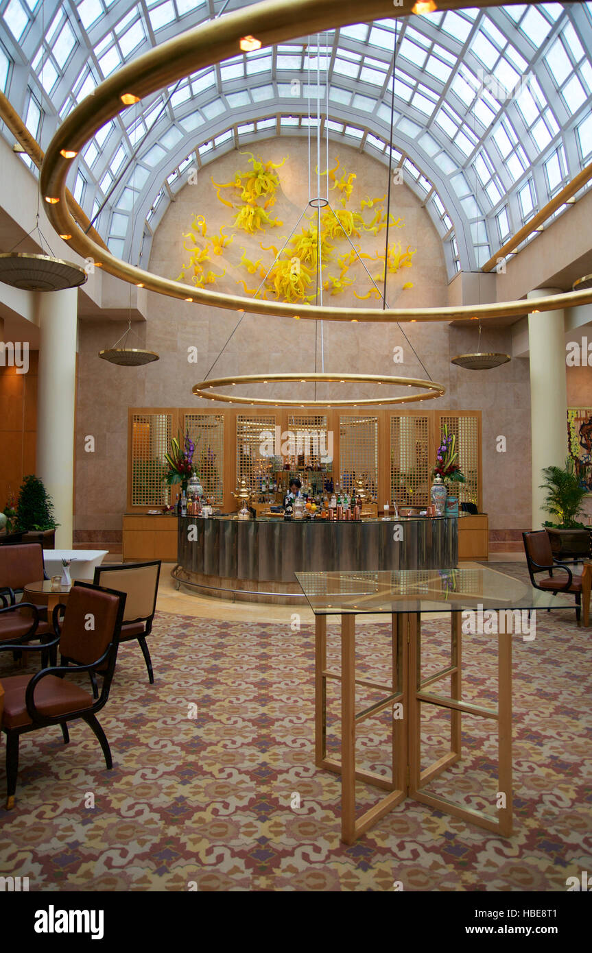 singapore july 23rd 2016 luxury hotel lobby with marble and glass