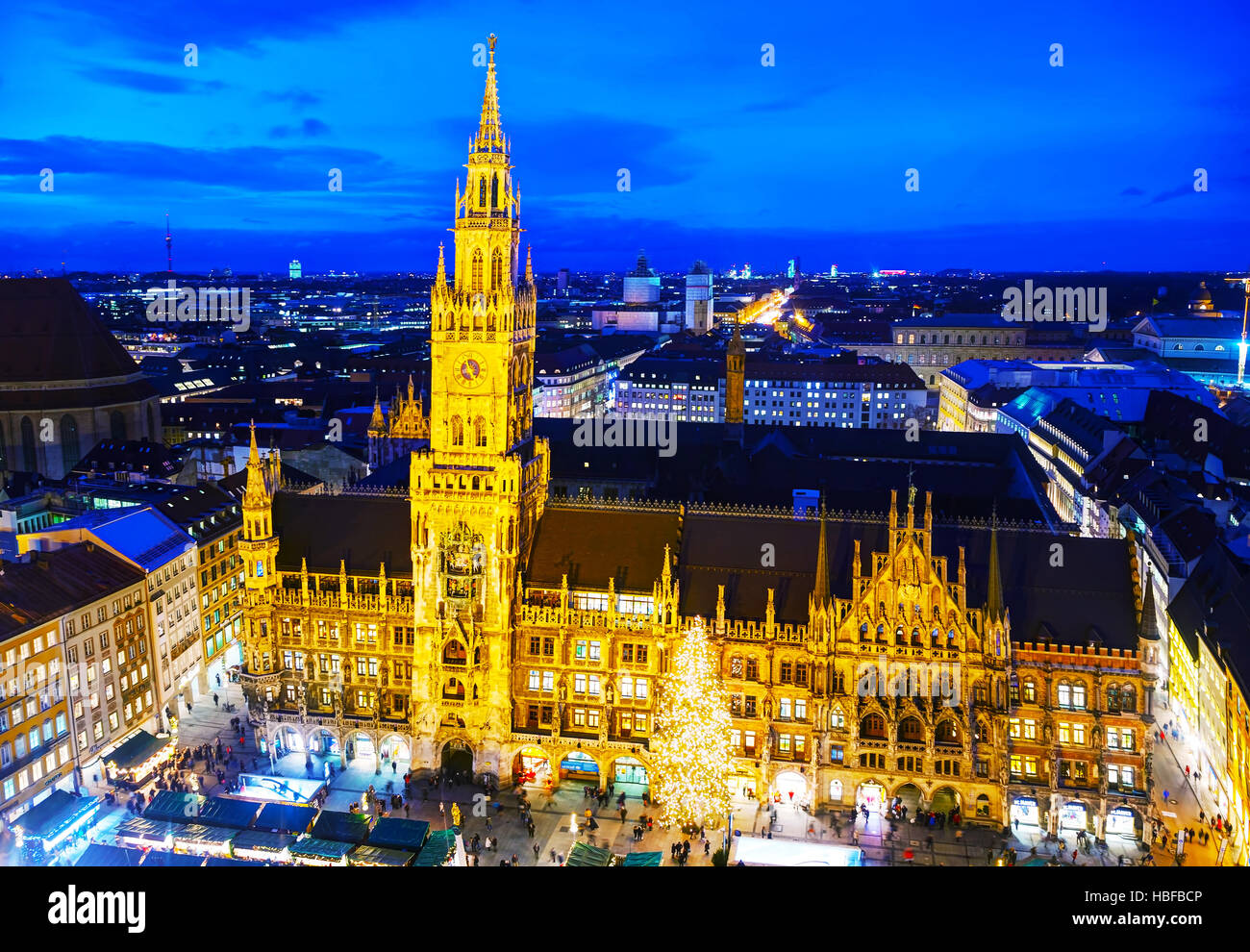 MUNICH - NOVEMBER 30: Aerial overview of Marienplatz with people on November 30, 2015 in Munich. It's the 3rd - Stock Image