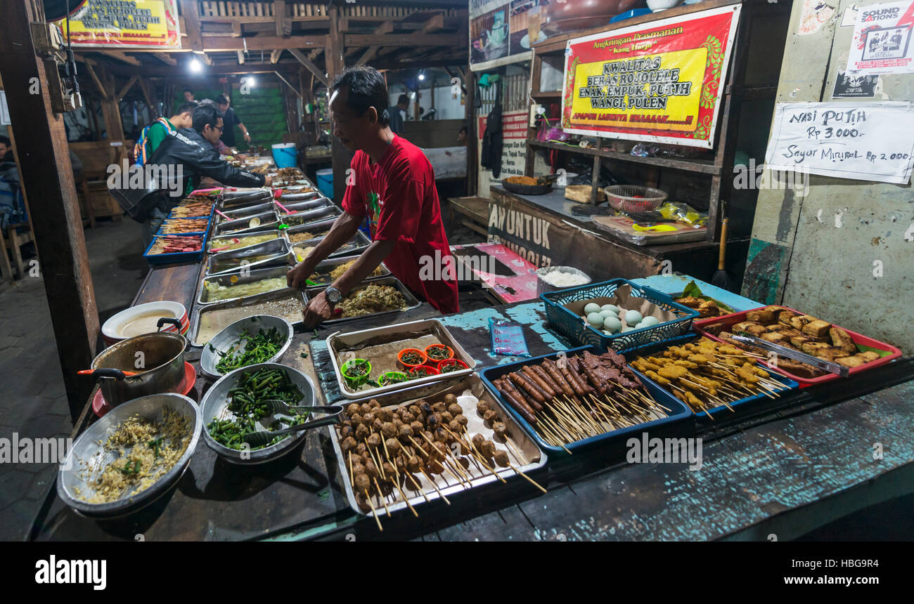 Various Indonesian foods at booth, seller, Food Market, Yogyakarta, Java, Indonesia - Stock Image