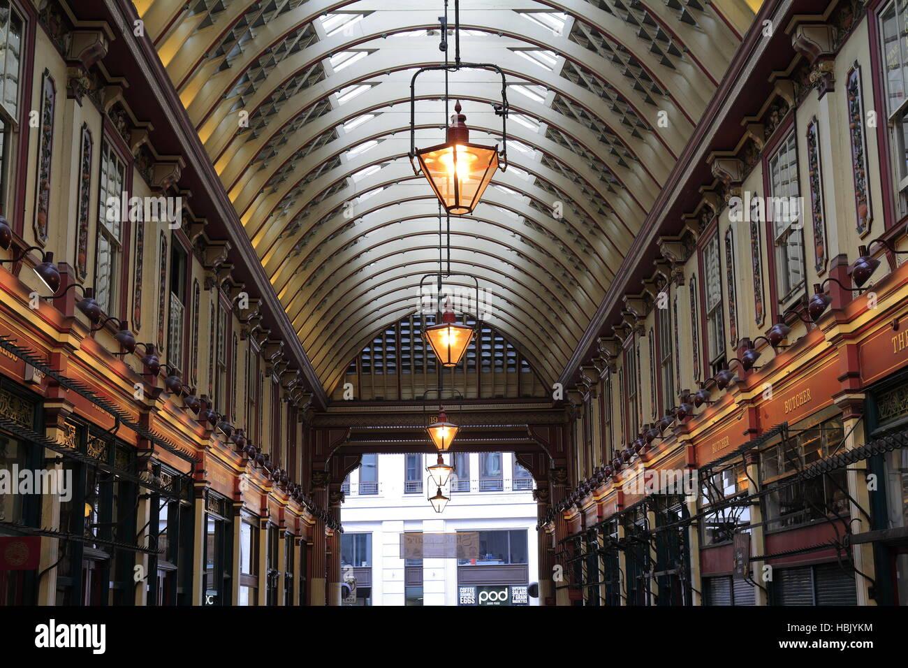 Leadenhall market covered shopping arcade - Stock Image