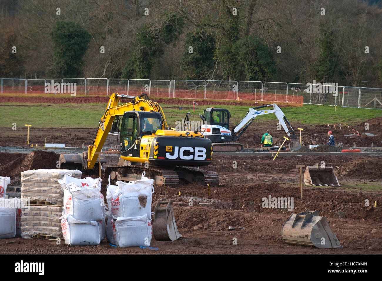 Groundworks underway for the quaintly named Readers Retreat a development of 80 houses by Persimmon Homes at Hay - Stock Image