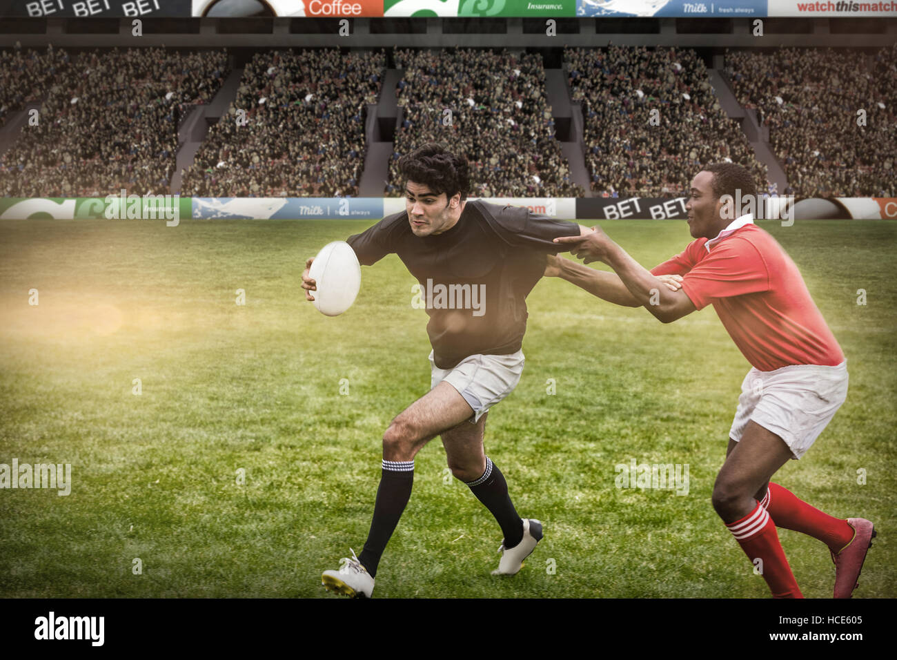 Composite image of rugby fans in arena - Stock Image