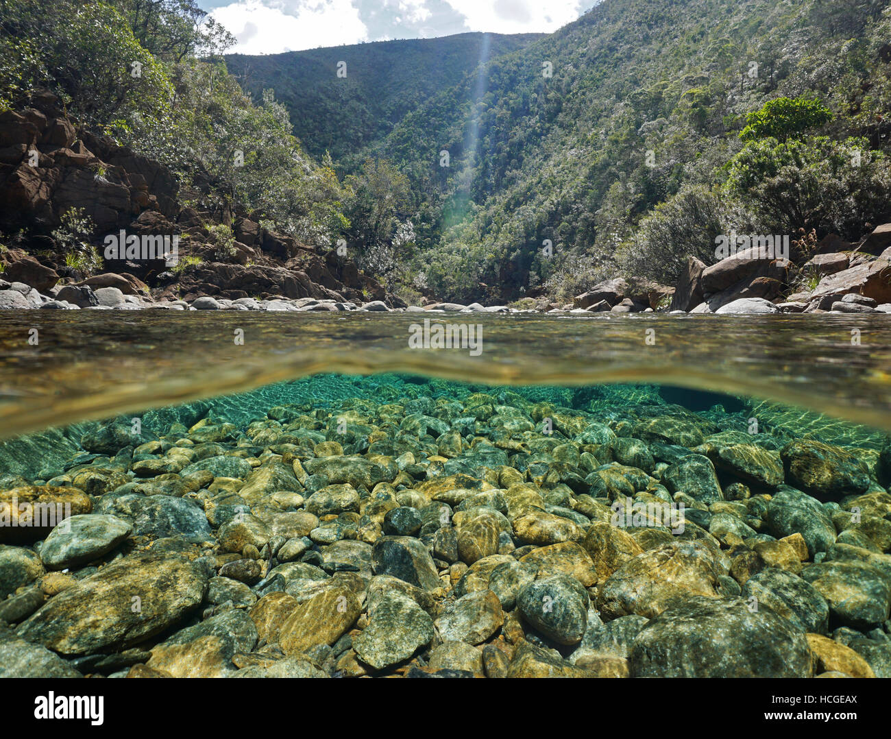 River Above And Below Water Surface With Rocks On The Riverbed Underwater,  Dumbea River,