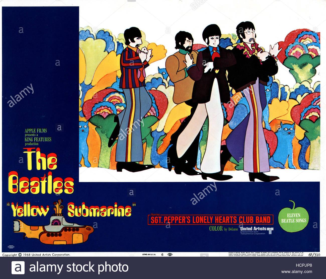 YELLOW SUBMARINE, The Beatles, US poster, from left:Ringo Starr, George Harrison, Paul McCartney, John Lennon, 1968. Stock Photo