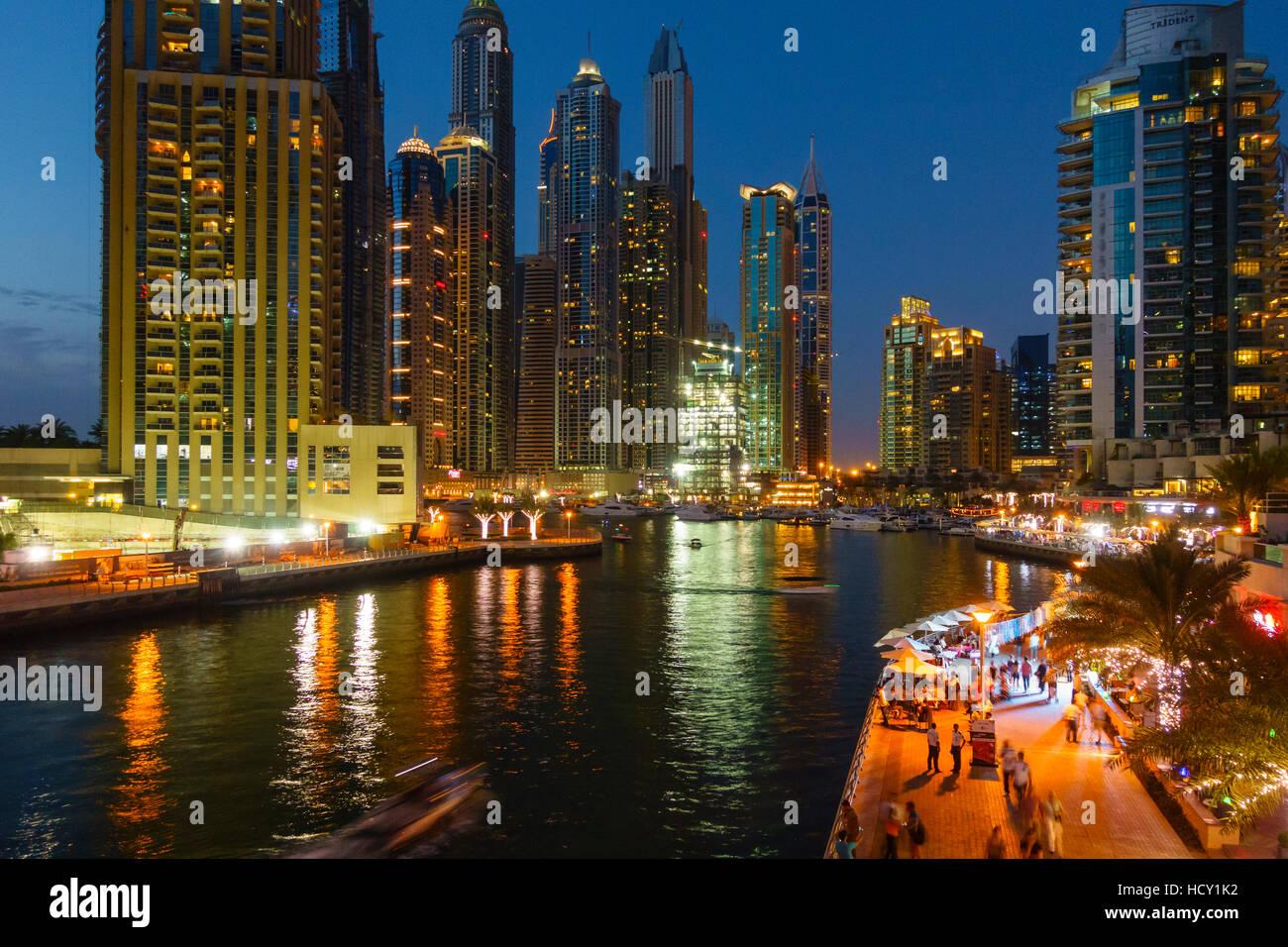 Dubai Marina by night, Dubai, United Arab Emirates, Middle East - Stock Image
