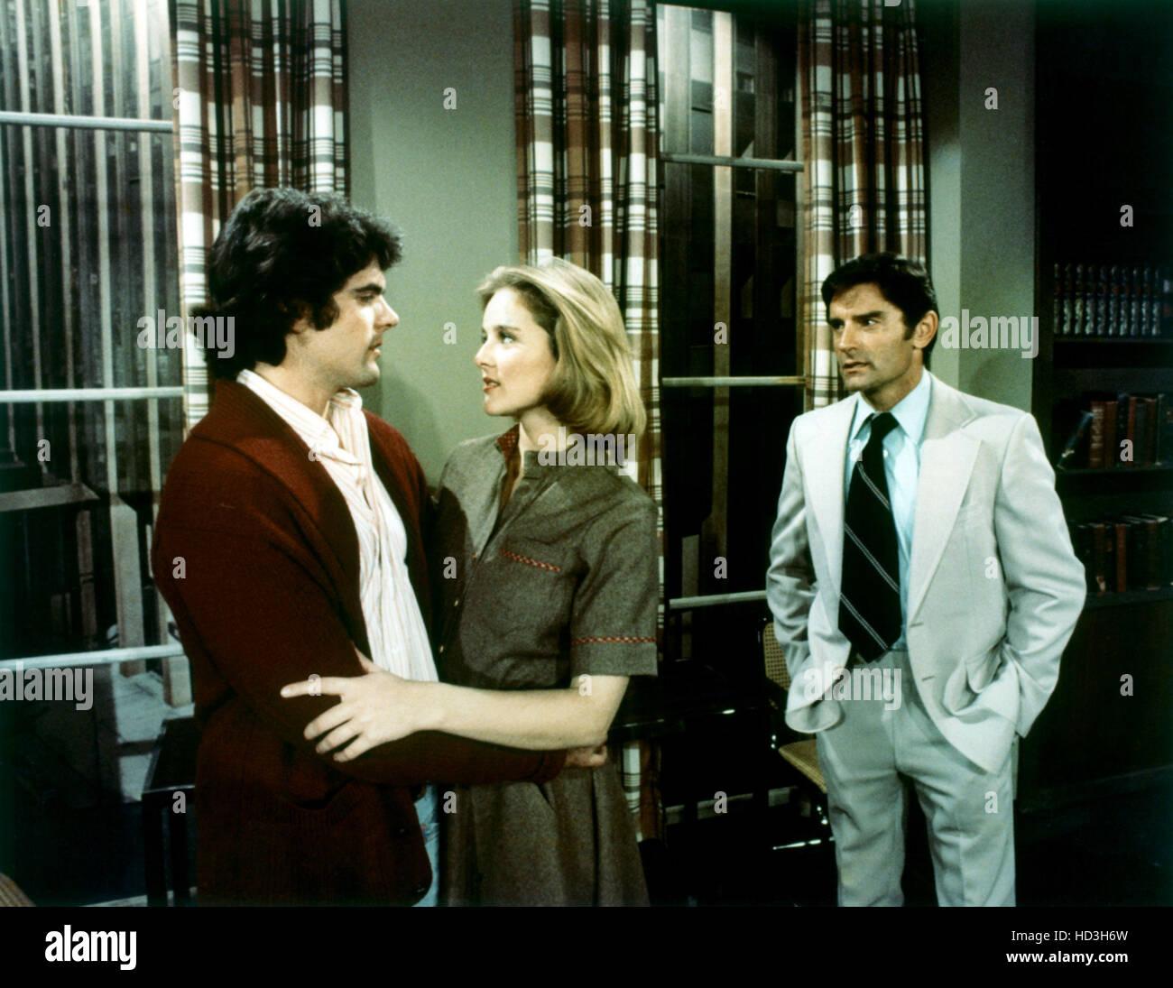 THE GUIDING LIGHT, (from left): Stephen Yates, Robin Mattson, Don Stewart, (ca. mid 1970s), 1952-2009. Stock Photo