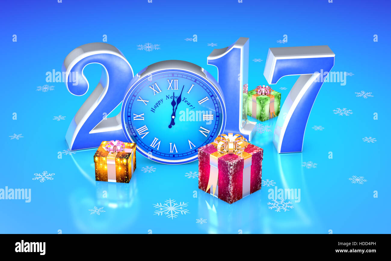 New Year. 2017. Beautiful christmas gifts, clock. Available in Stock ...