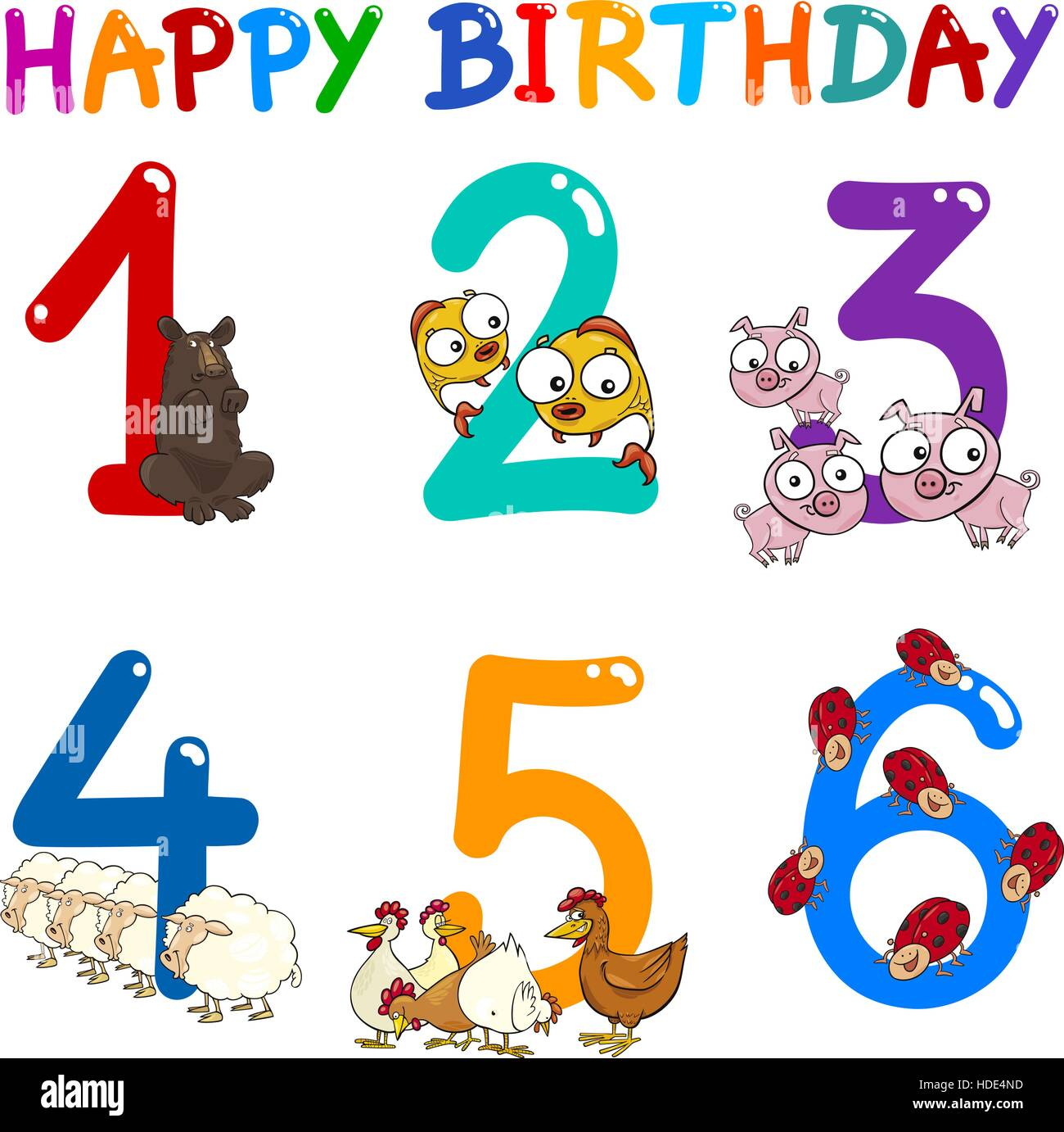 Cartoon Illustration Design Of The Birthday Greeting Cards Set For Children