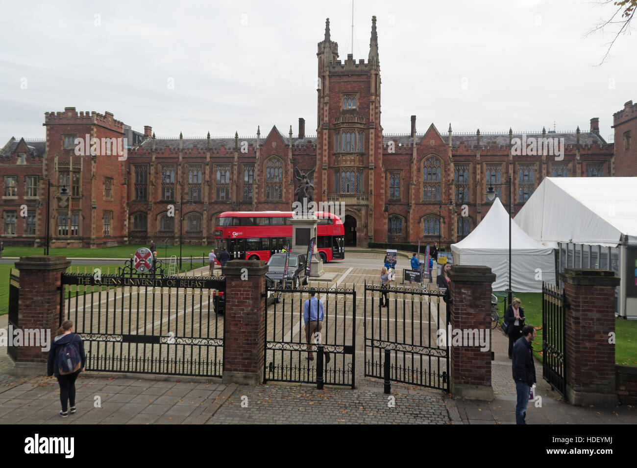NI,Northern Ireland,city,centre,Education,learn,learning,Queen,old,historic,building,architecture,research,institution,institutions,QUB,Queens College,Academic,BT7 1NN,main,building,architecture,red,gate,tent,tents,marque,gates,University Of Belfast,GoTonySmith,@HotpixUK,Tony,Smith,UK,GB,Great,Britain,United,Kingdom,Irish,British,Ireland,problem,with,problem with,issue with,NI,Northern,Northern Ireland,Uni,Belfast,City,Centre,edication,student,students,union,West,Beal,feirste,tour,tourism,tourists,urban,six,counties,6,backdrop,county,Antrim,Universitas Reginae Belfastiae,Academia,higher,hybrid,diesel-electric,double-decker,doubledecker,double,decker,Wrightbus,Buy Pictures of,Buy Images Of,Images of,Stock Images,Tony Smith,United Kingdom,Great Britain,British Isles,Higher Education,operated in London,Heatherwick Studio,rear open platform
