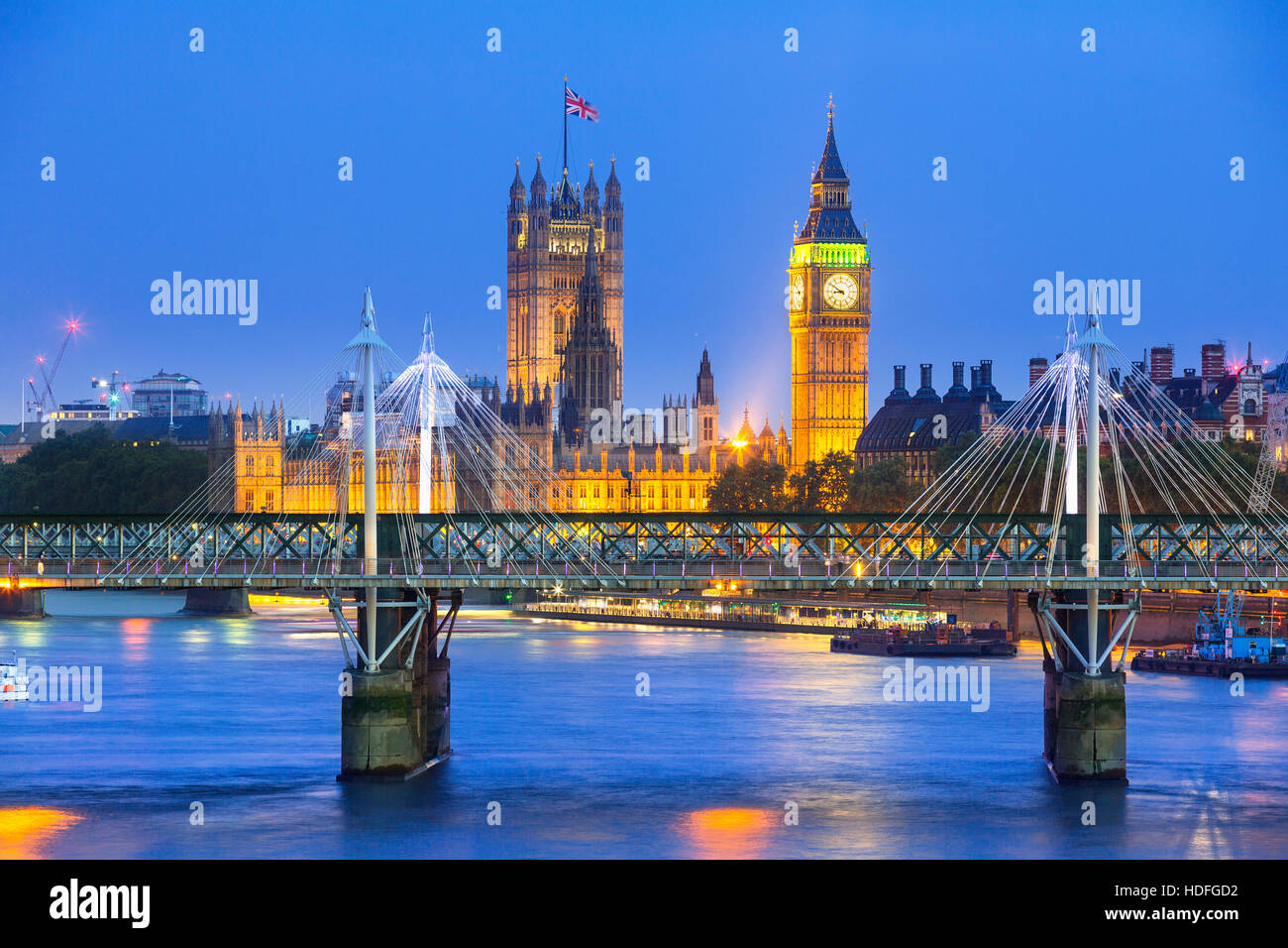 London at twilight. County Hall, Westminster Bridge, Big Ben and Houses of Parliament. - Stock Image