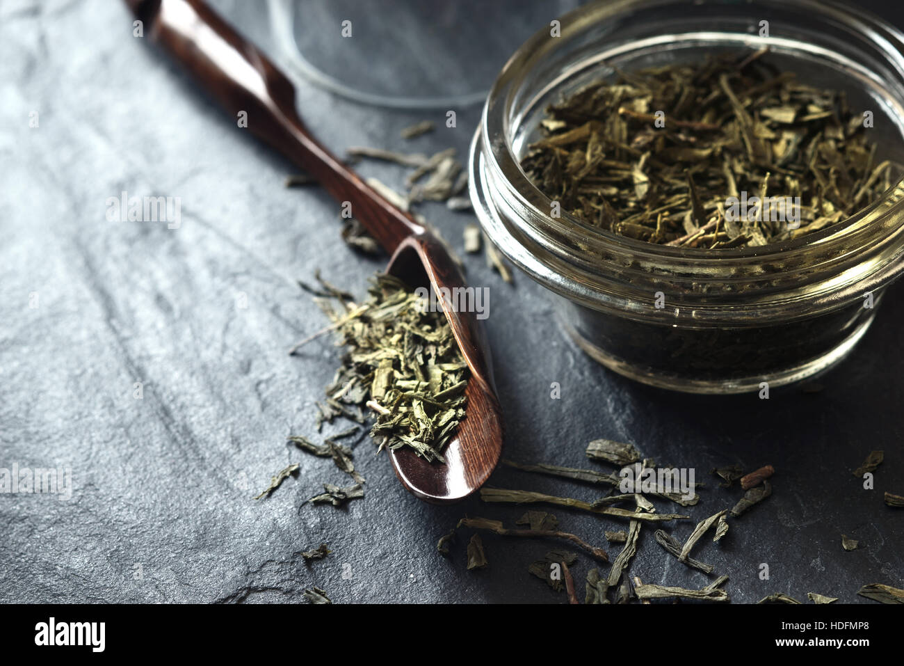 Set for tea preparation on the stone dark stone table horizontal - Stock Image