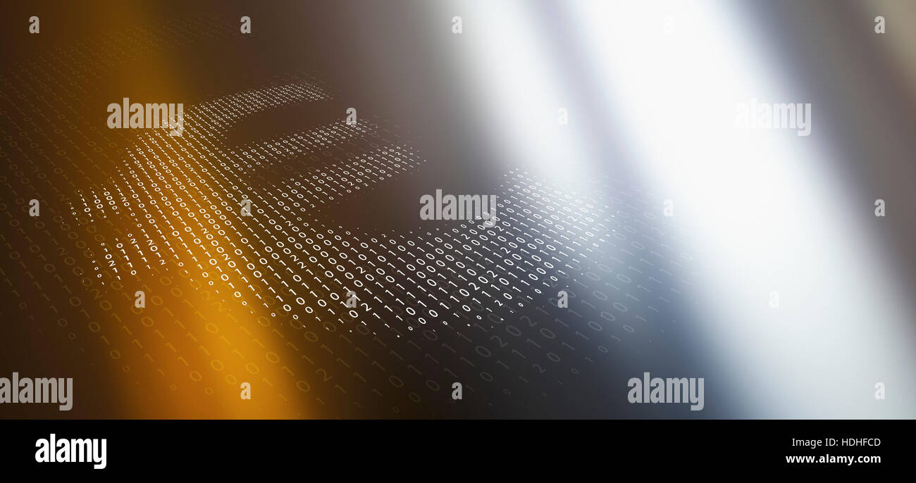 Close Up Of Euro Symbol Made Of Binary Code Over Abstract Background