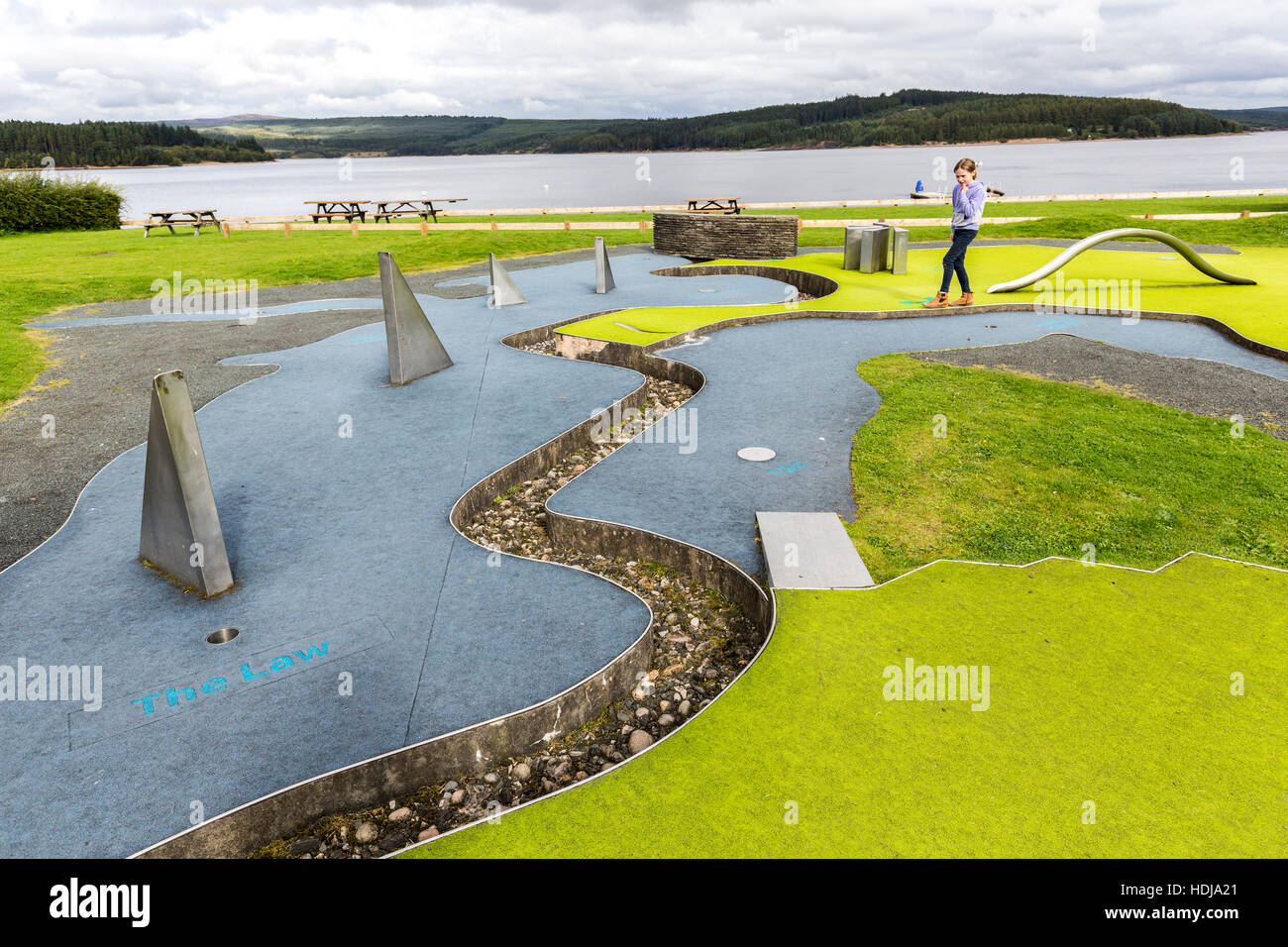Crazy golf course with local landmarks represented for ach hole, Kielder reservoir, Northumberland, England, UK - Stock Image