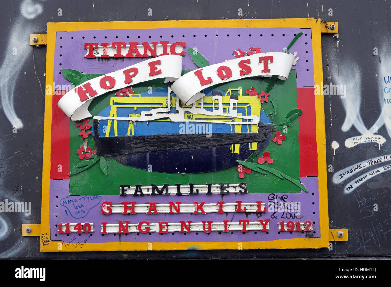 Northern Ireland,Peace,Wall,Cupar way,West Belfast,Belfast,Irish,art,artworks,artwork,Titanic,Hope,Lost,Shankill,ingenuity,1912,ingenuity,rd,Road,boat,ship,weld,welded,Berlin wall,Shankill ingenuity,RMS Titanic,GoTonySmith,@HotpixUK,Tony,Smith,UK,GB,Great,Britain,United,Kingdom,Irish,British,Ireland,problem,with,problem with,issue with,NI,Northern,Northern Ireland,Belfast,City,Centre,Art,Artists,the,troubles,The Troubles,Good Friday Agreement,Peace,honour,painting,wall,walls,tribute,Unionist,unionism,Protestant,Catholic,republican,Sinn Fein,community,Fight,Justice,West,Beal,feirste,martyrs,social,tour,tourism,tourists,urban,six,counties,6,backdrop,county,Antrim,UVF,DUP,British,GB,Empire,Buy Pictures of,Buy Images Of,Images of,Stock Images,Tony Smith,United Kingdom,Great Britain,British Isles,Belfast protestant community,Peoples army,Belfast catholic community,Irelands Berlin wall