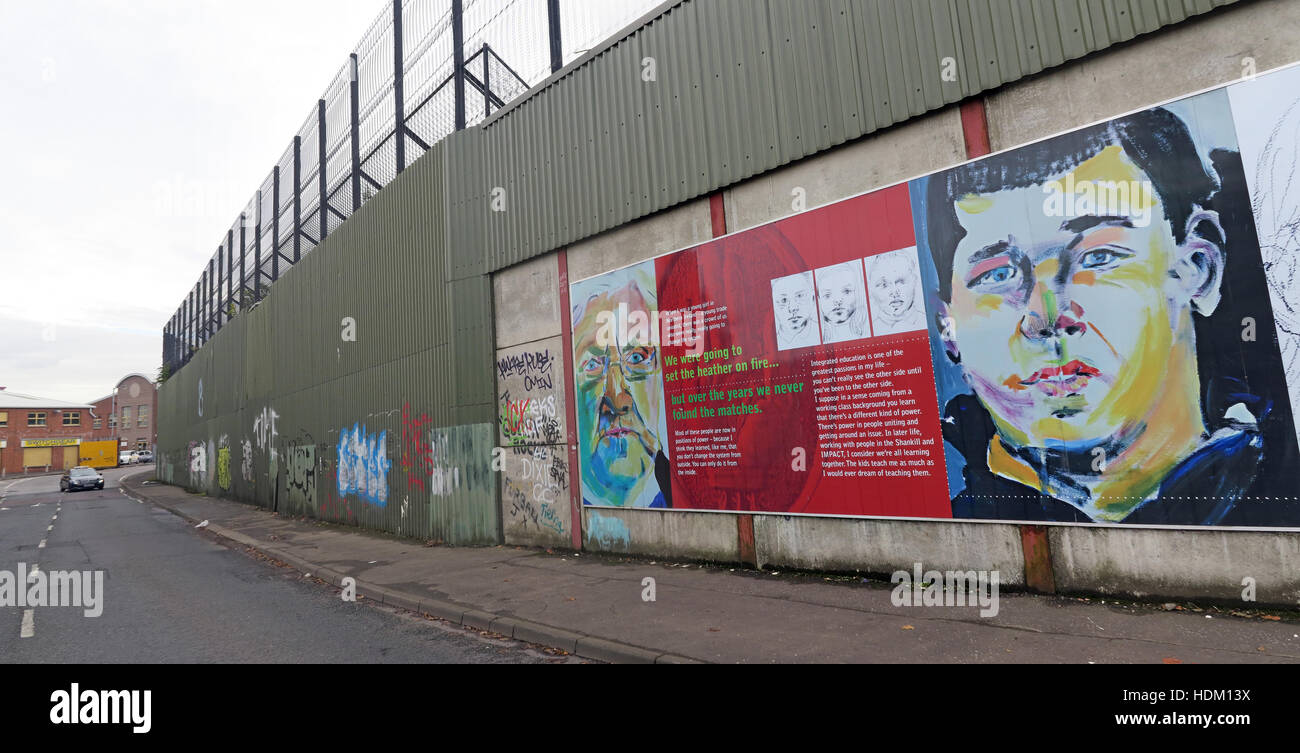 Northern Ireland,Peace,Wall,Cupar way,West Belfast,Belfast,Irish,art,artworks,artwork,The Power of Integrating Education,The,Power,of,Integrating,Education,integration,mixed,sectarian,impact,car,with,and,road,rd,wide,pano,panorama,Berlin wall,Mixed education,IMPACT training,GoTonySmith,@HotpixUK,Tony,Smith,UK,GB,Great,Britain,United,Kingdom,Irish,British,Ireland,problem,with,problem with,issue with,NI,Northern,Northern Ireland,Belfast,City,Centre,Art,Artists,the,troubles,The Troubles,Good Friday Agreement,Peace,honour,painting,wall,walls,tribute,Unionist,unionism,Protestant,Catholic,republican,Sinn Fein,community,Fight,Justice,West,Beal,feirste,martyrs,social,tour,tourism,tourists,urban,six,counties,6,backdrop,county,Antrim,UVF,DUP,British,GB,Empire,Buy Pictures of,Buy Images Of,Images of,Stock Images,Tony Smith,United Kingdom,Great Britain,British Isles,Belfast protestant community,Peoples army,Belfast catholic community,Irelands Berlin wall,16 Lanark Way, Belfast BT13 3BH,Peace wall Panorama
