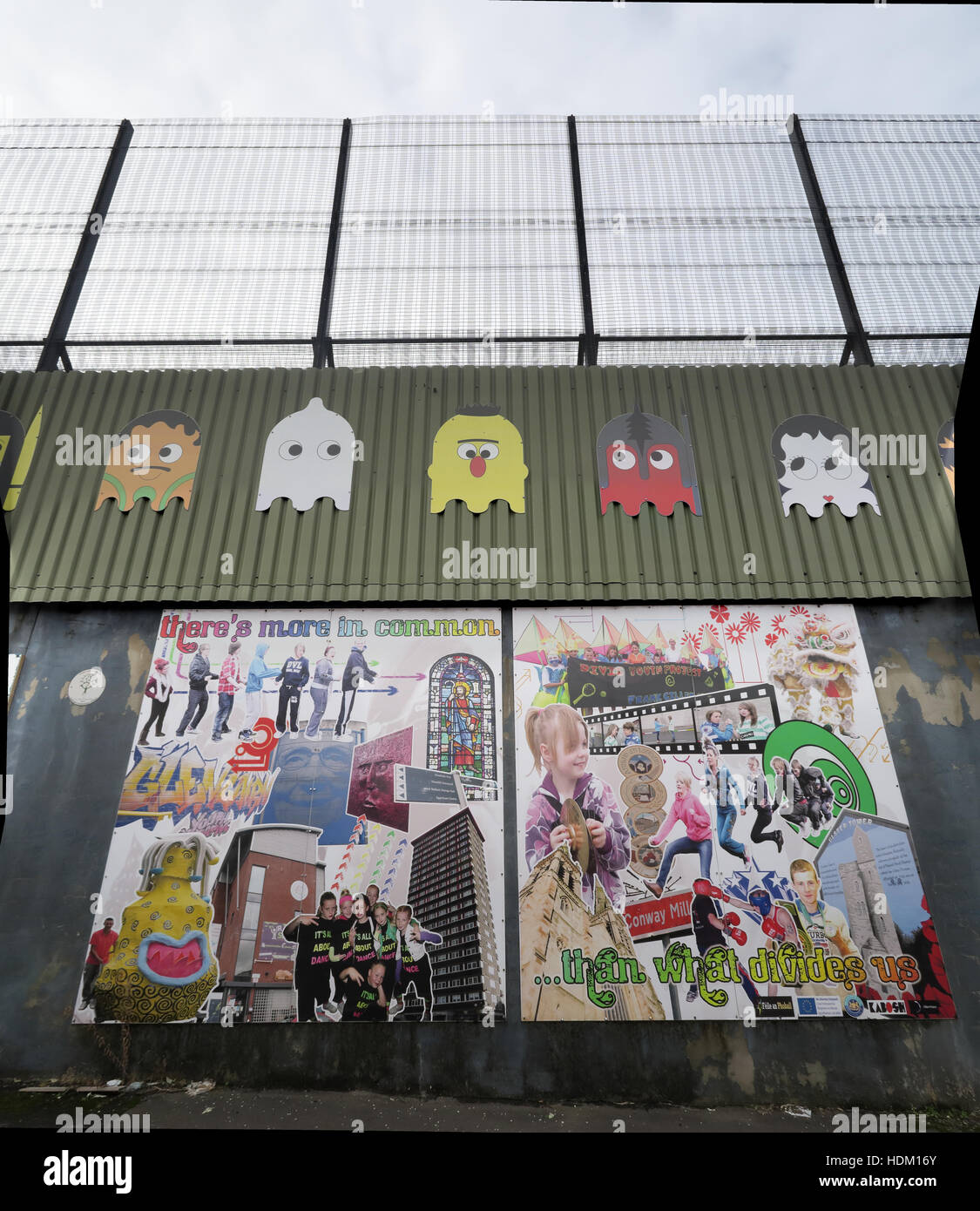 Northern Ireland,Peace,Wall,Cupar way,West Belfast,Belfast,Irish,art,artworks,artwork,common,than,divides,separates,us,peace,space invaders,space,invaders,wire,barbed,barbed wire,razor wire,invader,PacMan,Pac-man,Pac,man,Berlin wall,Theres more in common,Than what divides us,Irish history,GoTonySmith,@HotpixUK,Tony,Smith,UK,GB,Great,Britain,United,Kingdom,Irish,British,Ireland,problem,with,problem with,issue with,NI,Northern,Northern Ireland,Belfast,City,Centre,Art,Artists,the,troubles,The Troubles,Good Friday Agreement,Peace,honour,painting,wall,walls,tribute,Unionist,unionism,Protestant,Catholic,republican,Sinn Fein,community,Fight,Justice,West,Beal,feirste,martyrs,social,tour,tourism,tourists,urban,six,counties,6,backdrop,county,Antrim,UVF,DUP,British,GB,Empire,Buy Pictures of,Buy Images Of,Images of,Stock Images,Tony Smith,United Kingdom,Great Britain,British Isles,Belfast protestant community,Peoples army,Belfast catholic community,Irelands Berlin wall