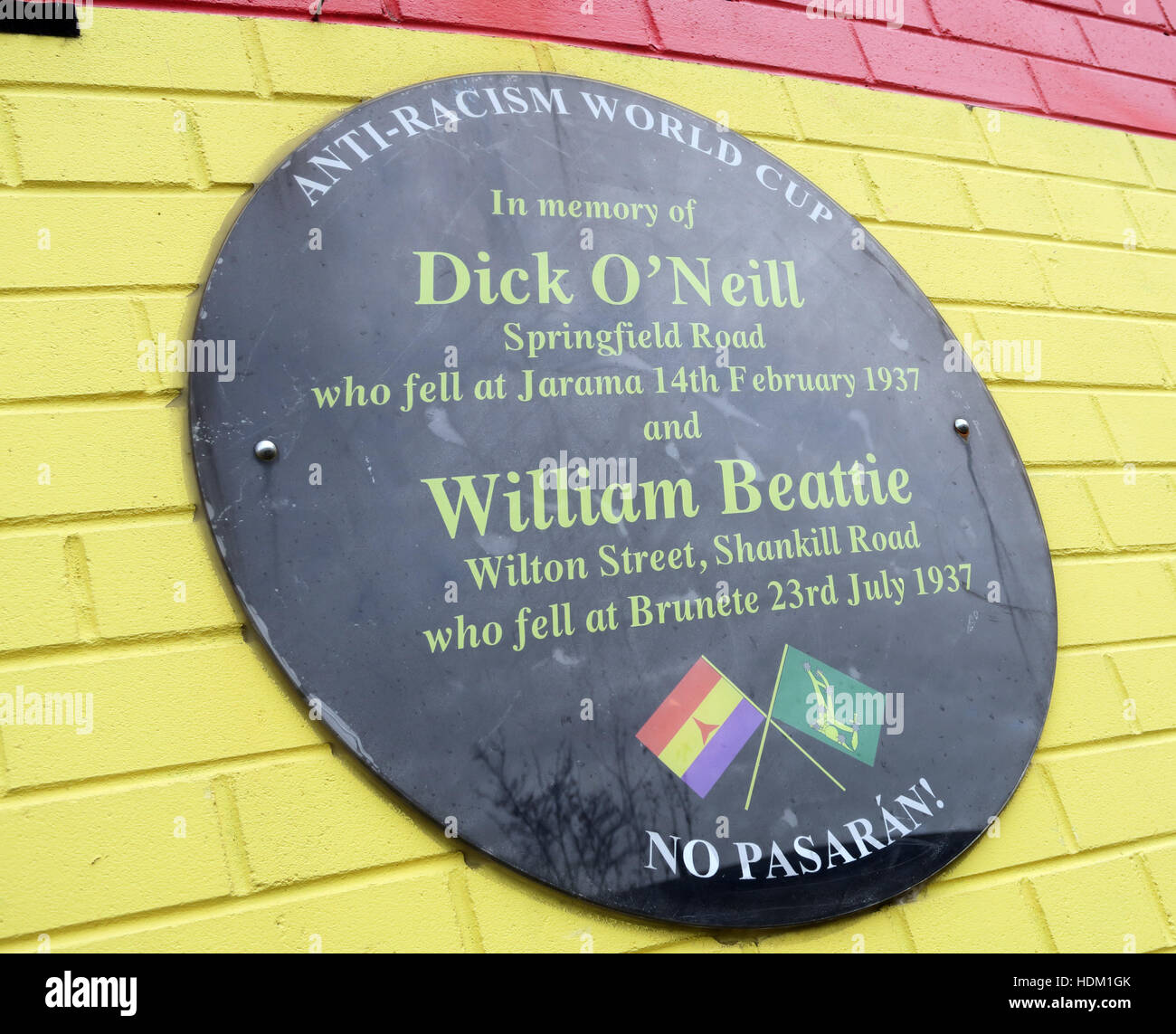 William Beattie,Springfield Road,&,Wilton Street,Shankill Road,plaque,fell,at,Brnete,23rd,July,1937,No Pasaran,GoTonySmith,@HotpixUK,Tony,Smith,UK,GB,Great,Britain,United,Kingdom,Irish,British,Ireland,problem,with,problem with,issue with,NI,Northern,Northern Ireland,Belfast,City,Centre,Art,Artists,the,troubles,The Troubles,Good Friday Agreement,Peace,honour,painting,wall,walls,tribute,republicanism,Fight,Justice,West,Beal,feirste,martyrs,social,tour,tourism,tourists,urban,six,counties,6,backdrop,county,Antrim,occupation,good,Friday,agreement,peace,reconciliation,IRA,terror,terrorists,genocide,Buy Pictures of,Buy Images Of,Images of,Stock Images,Tony Smith,United Kingdom,Great Britain,British Isles,republican cause