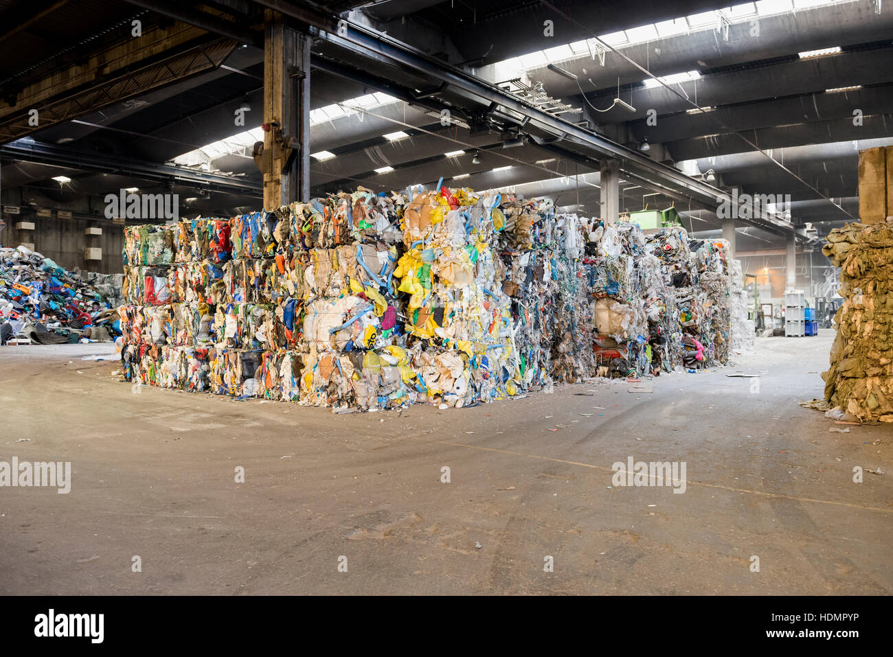 Sorted and baled garbage, recycling - Stock Image