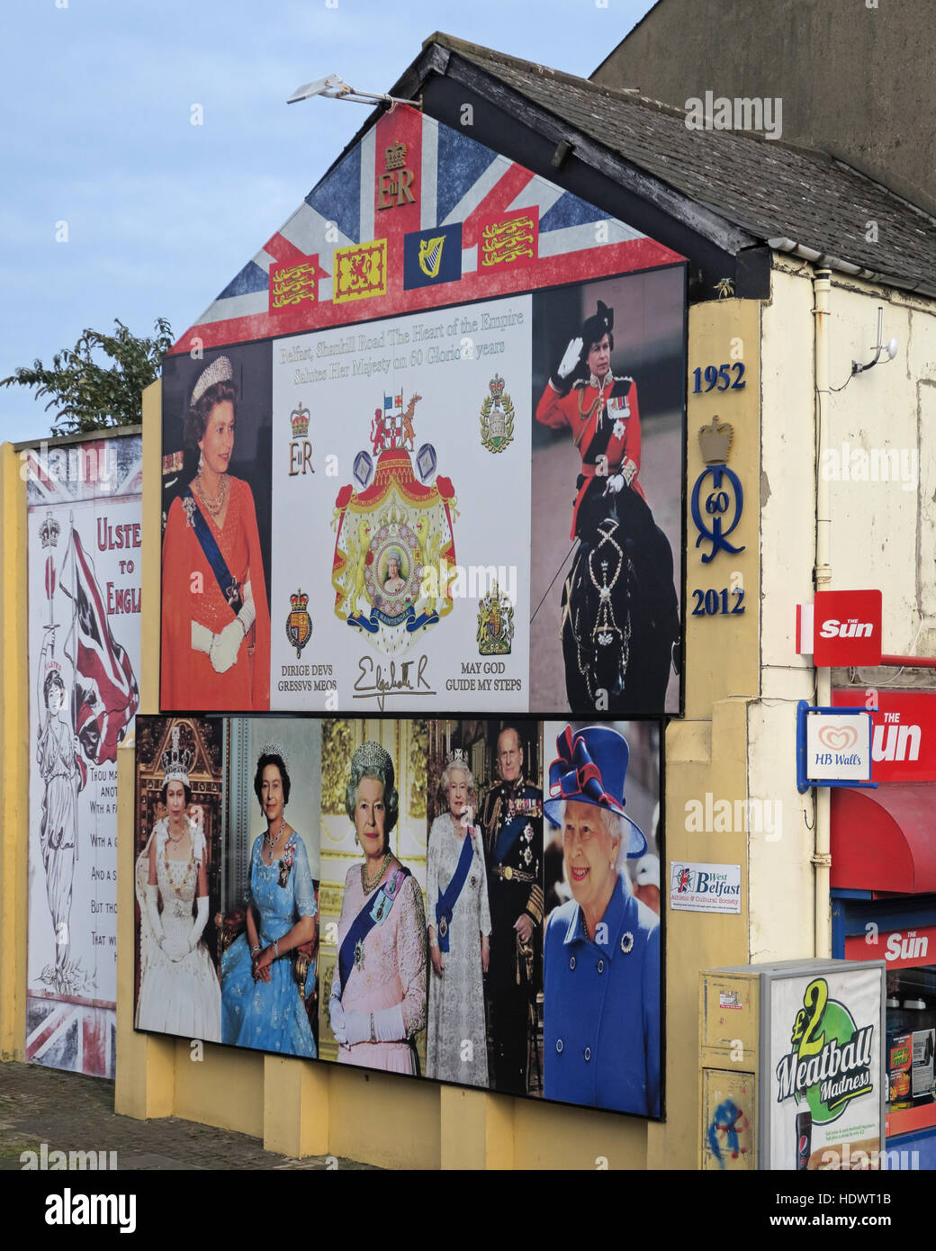 Red hand,Ulster,memorial,UFF,Unionist,mural,off,Shankill,rd,Road,West Belfast,Northern Ireland,UK,Ireland,fighter,fighting,60 years,Queen Elizabeth II,Royal subjects,royal,subjects,Queen,Elizabeth,reign,over,QE2,QEII,gable,end,gable end,GoTonySmith,@HotpixUK,Tony,Smith,UK,GB,Great,Britain,United,Kingdom,Irish,British,Ireland,problem,with,problem with,issue with,NI,Northern,Northern Ireland,Belfast,City,Centre,Art,Artists,the,troubles,The Troubles,Good Friday Agreement,Peace,honour,painting,wall,walls,tribute,Unionist,unionism,Protestant,community,Fight,Justice,West,Beal,feirste,martyrs,social,tour,tourism,tourists,urban,six,counties,6,backdrop,county,Antrim,UVF,DUP,British,GB,Empire,Buy Pictures of,Buy Images Of,Images of,Stock Images,Tony Smith,United Kingdom,Great Britain,British Isles,Belfast protestant community,Peoples army