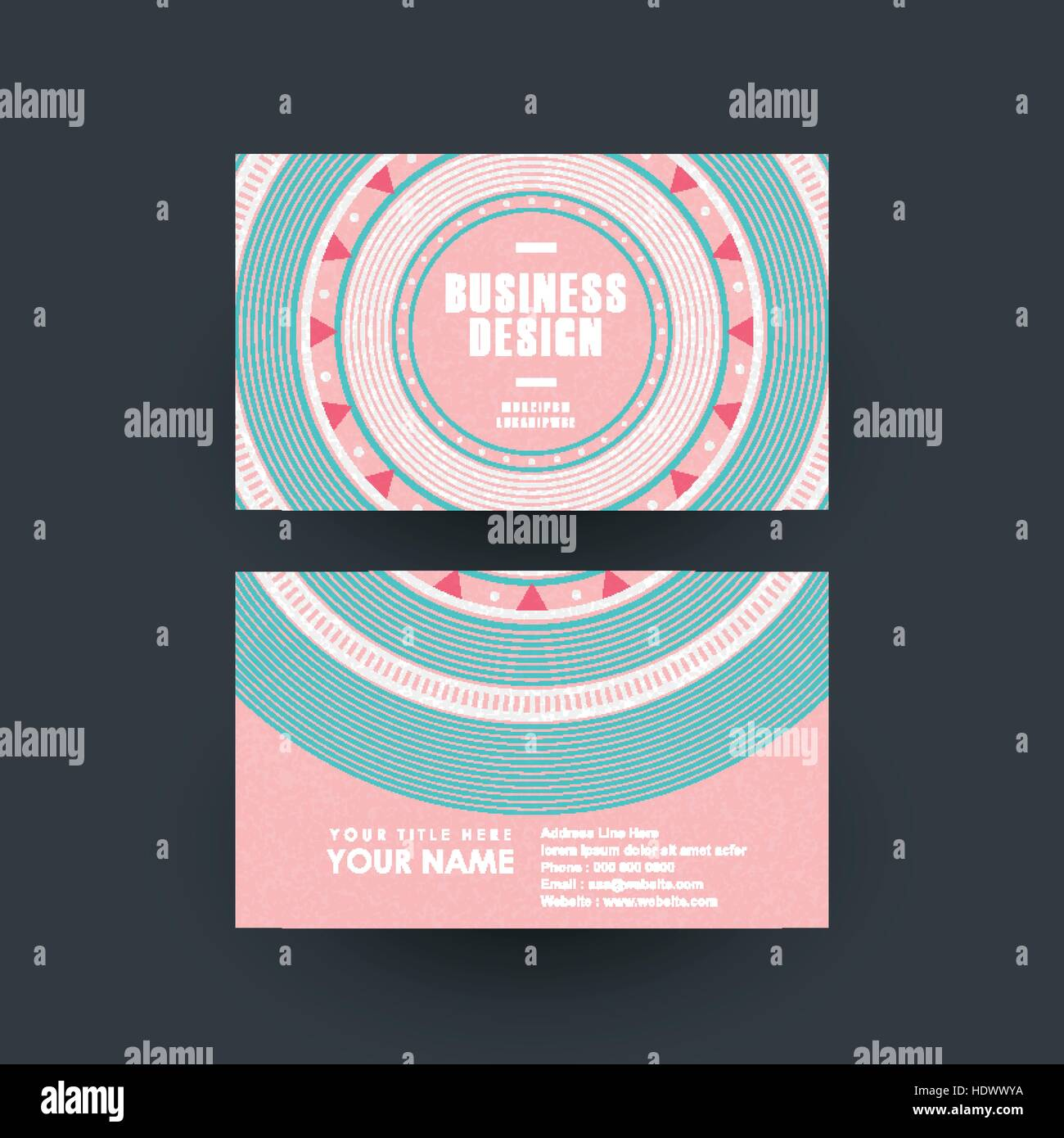 modern pink vinyl record design for business card stock vector art