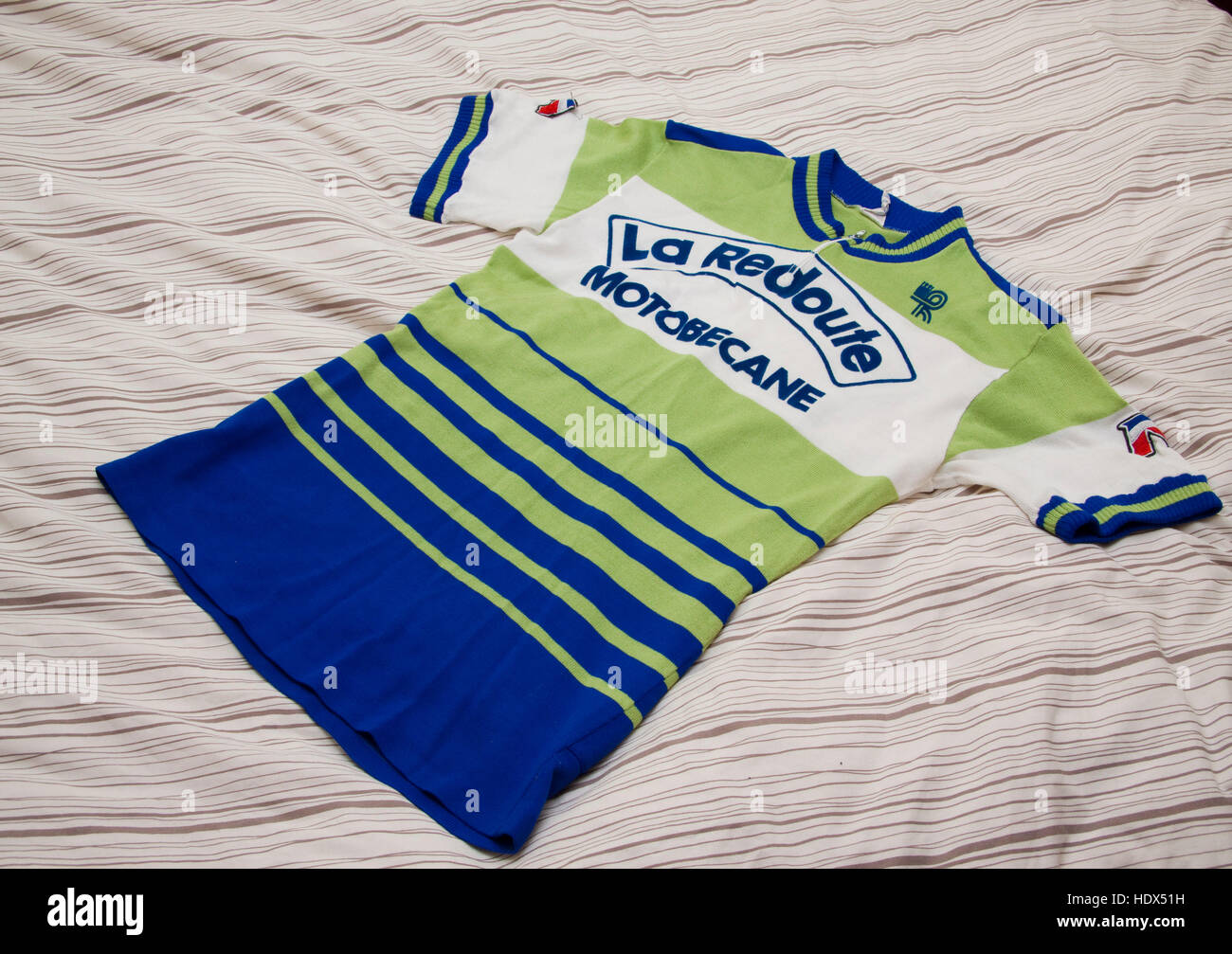 Cycling jersey of the French professional racing La Redoubte Motobecane Stock Photo