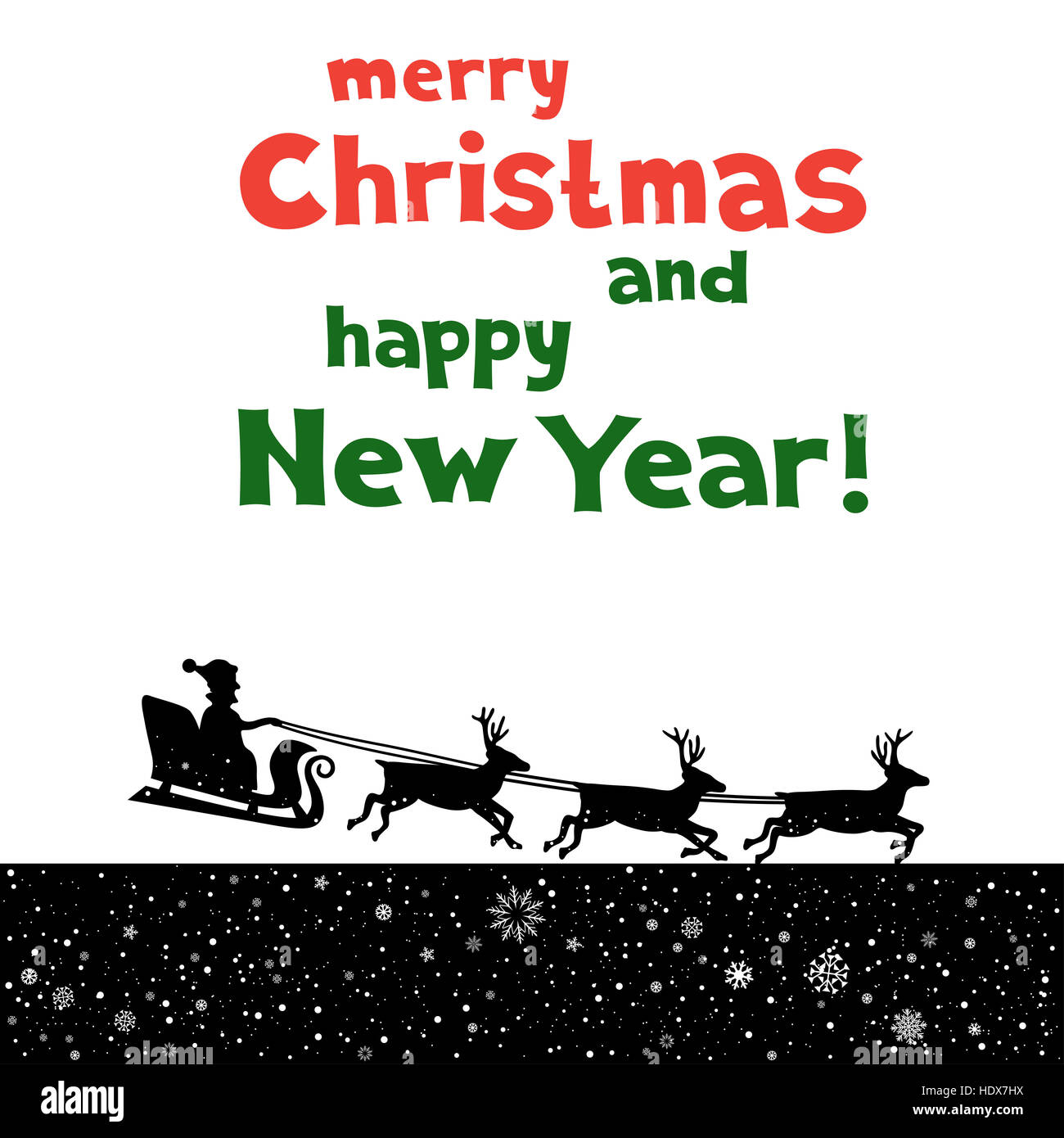 The Christmas Greetings From Santa Which Fly To Give Gifts Black