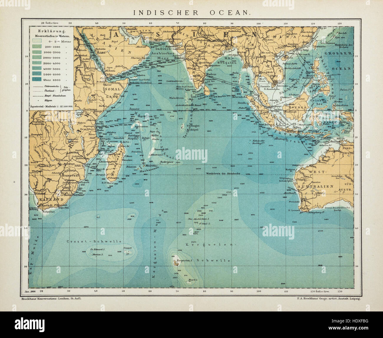 Indian Ocean Old Antique Map Vintage Look Stock Photo - Vintage looking world map